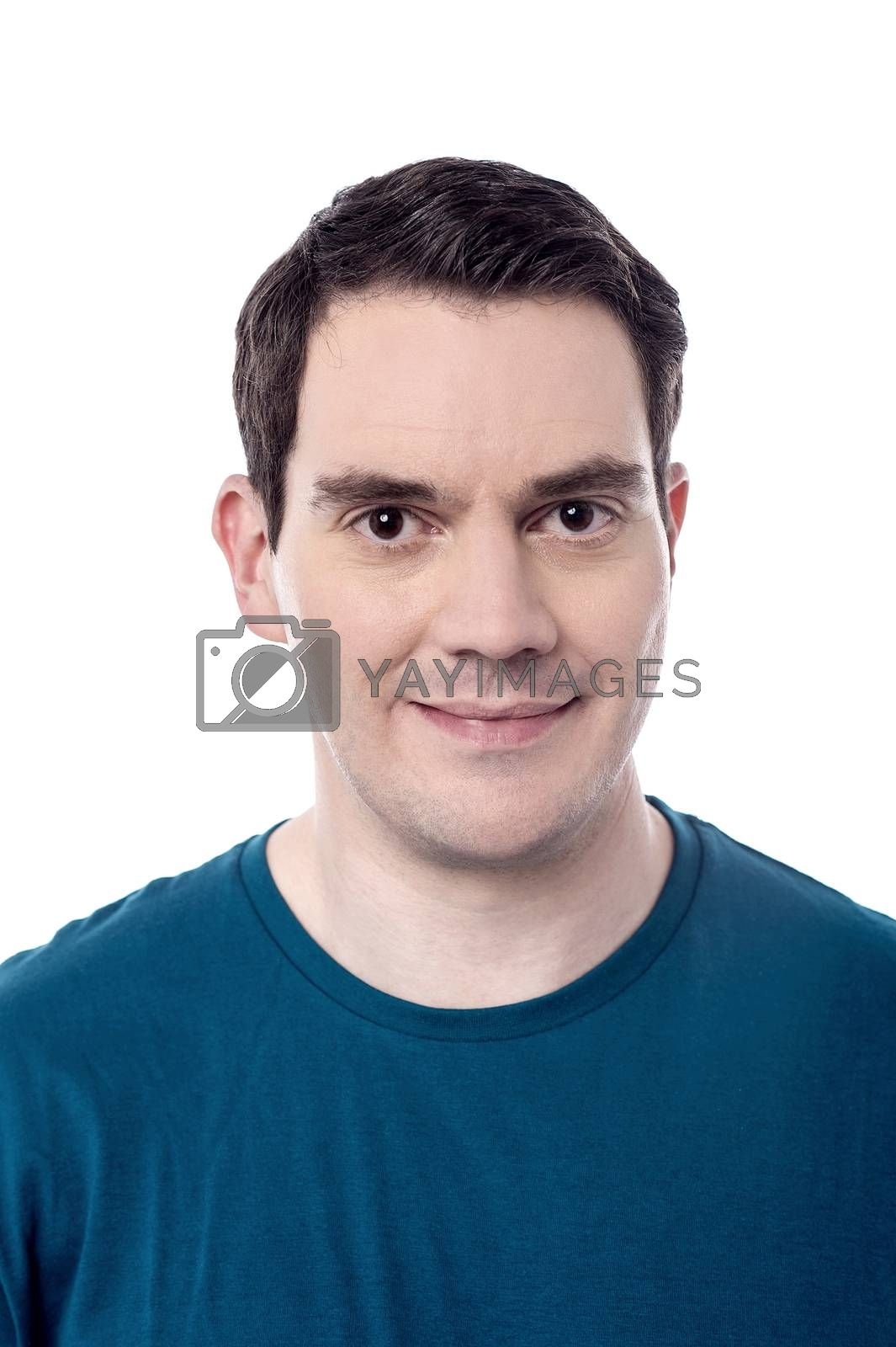 Image of a casual man posing over white background
