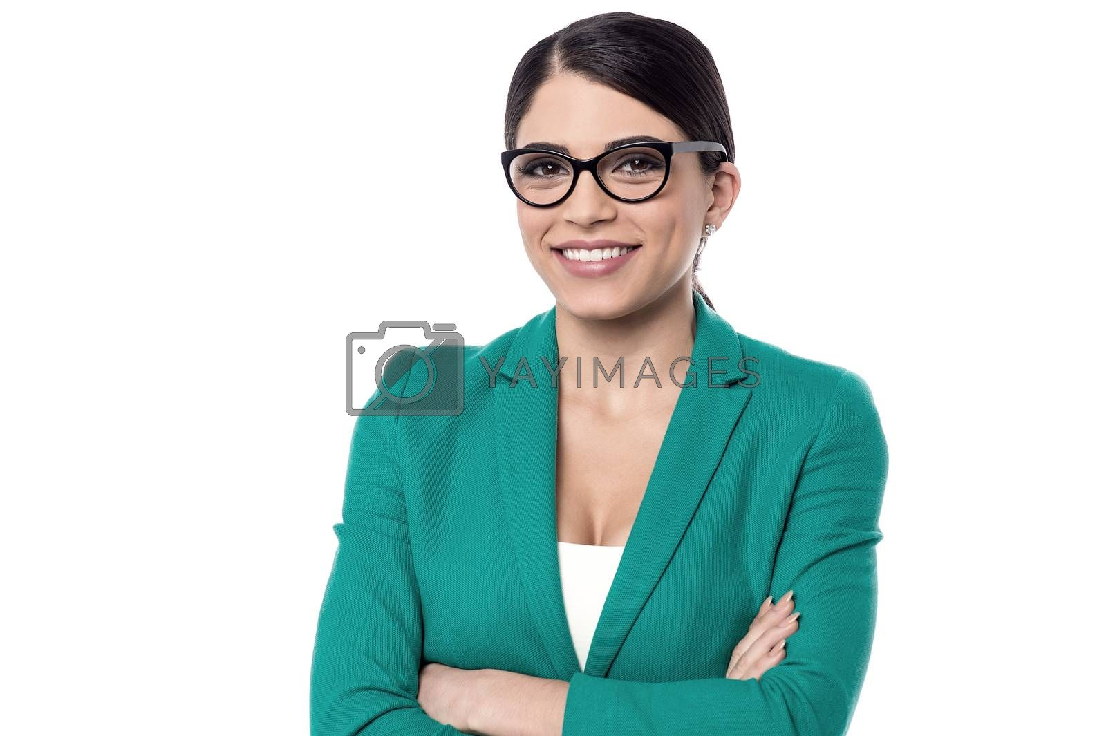 Confident business woman posing over white