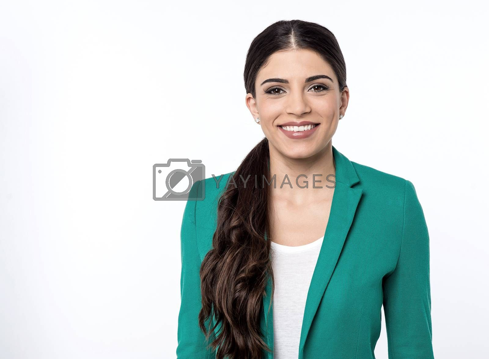 Smiling business woman posing to camera over white