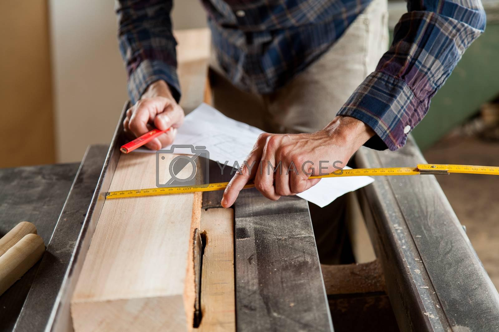 Man measuring a plank