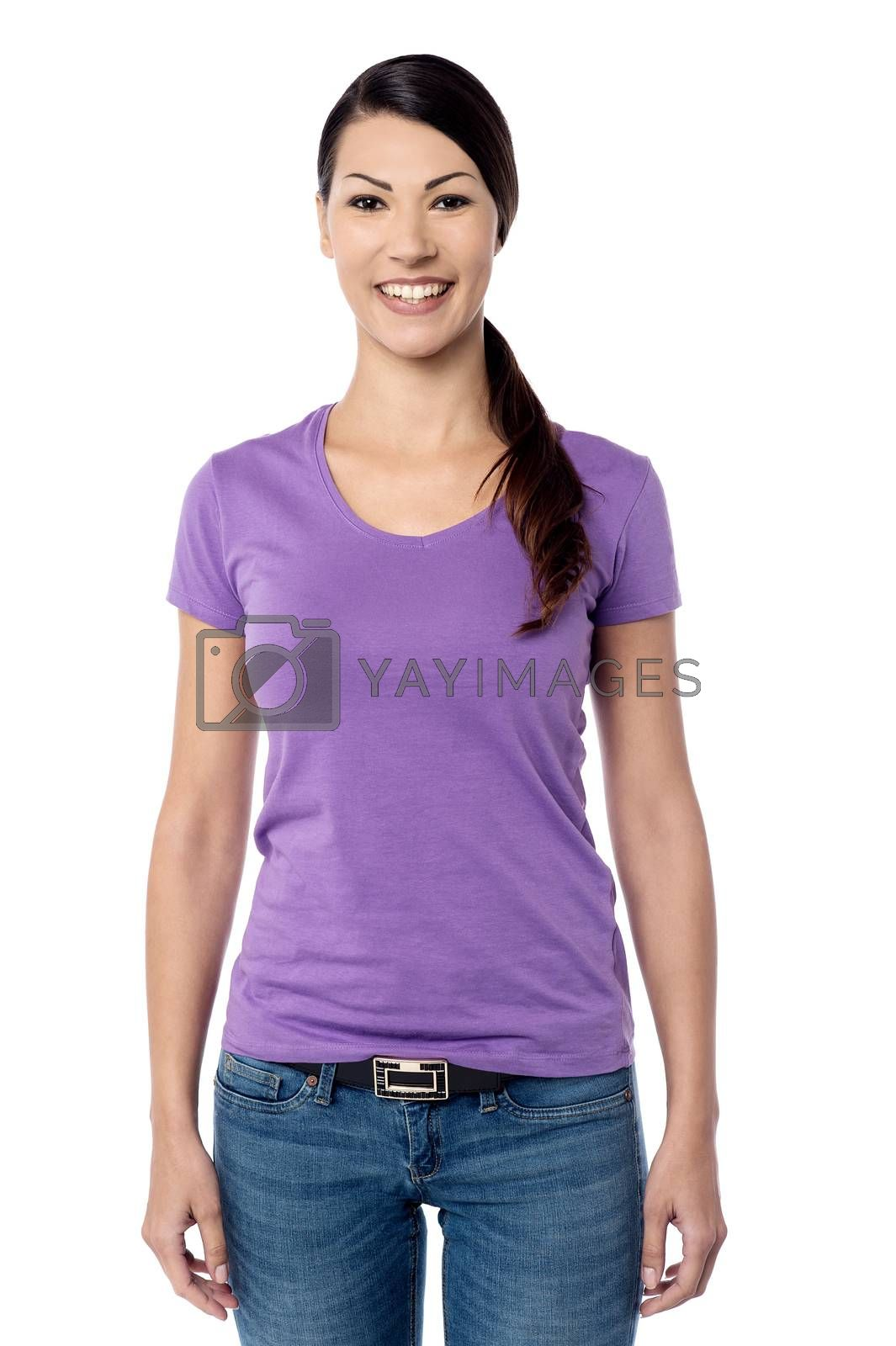 Casual pose of happy young woman over white