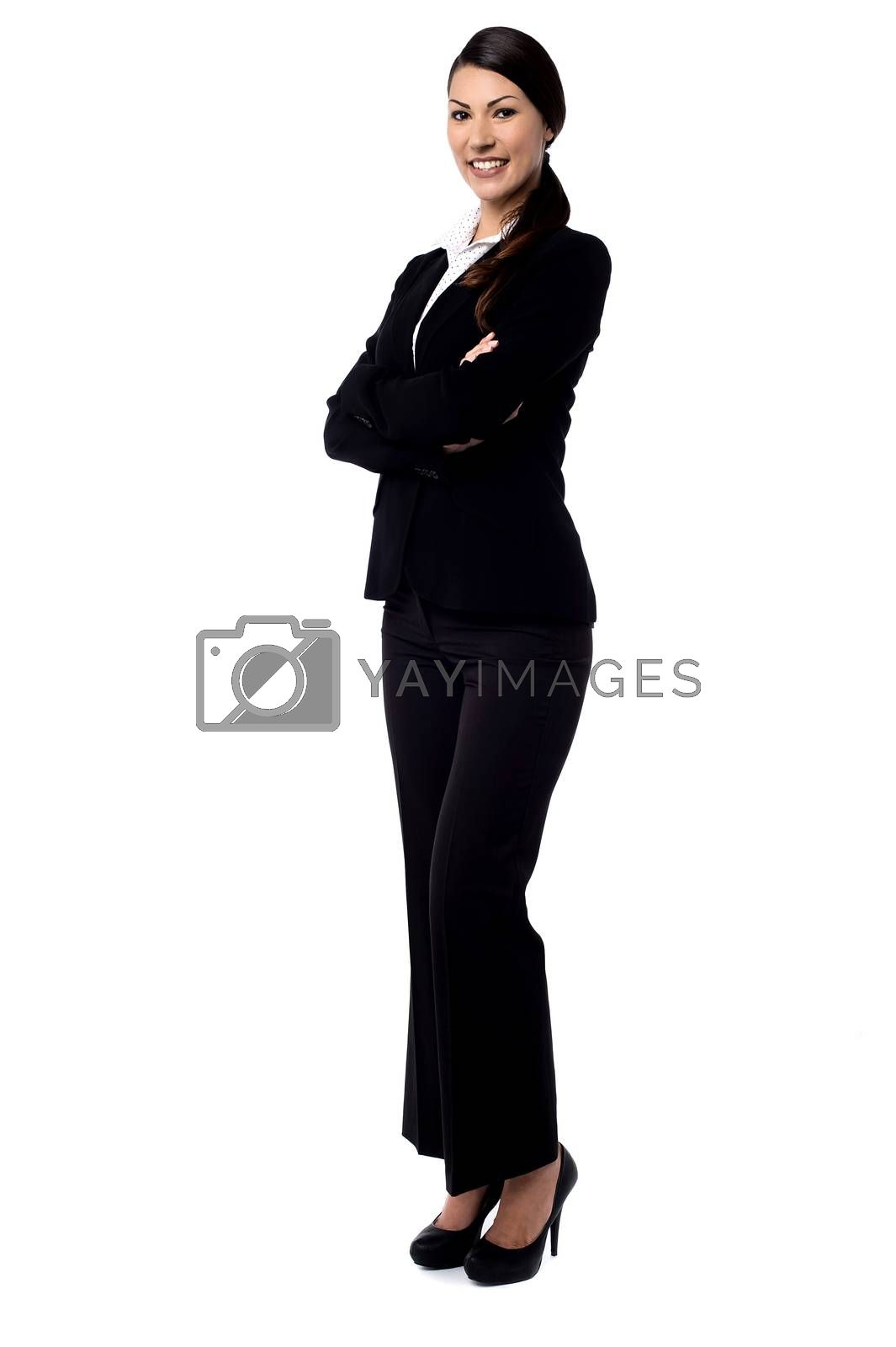 Full length of confident young business woman