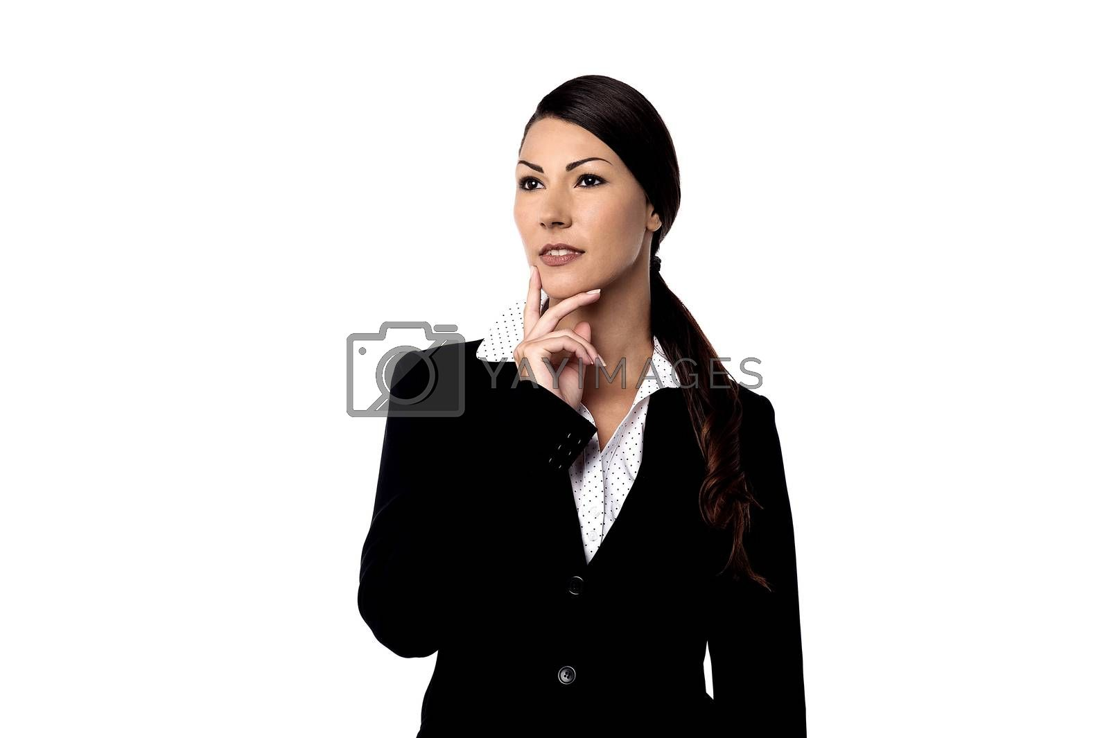 Thoughtful businesswoman looking at copy space