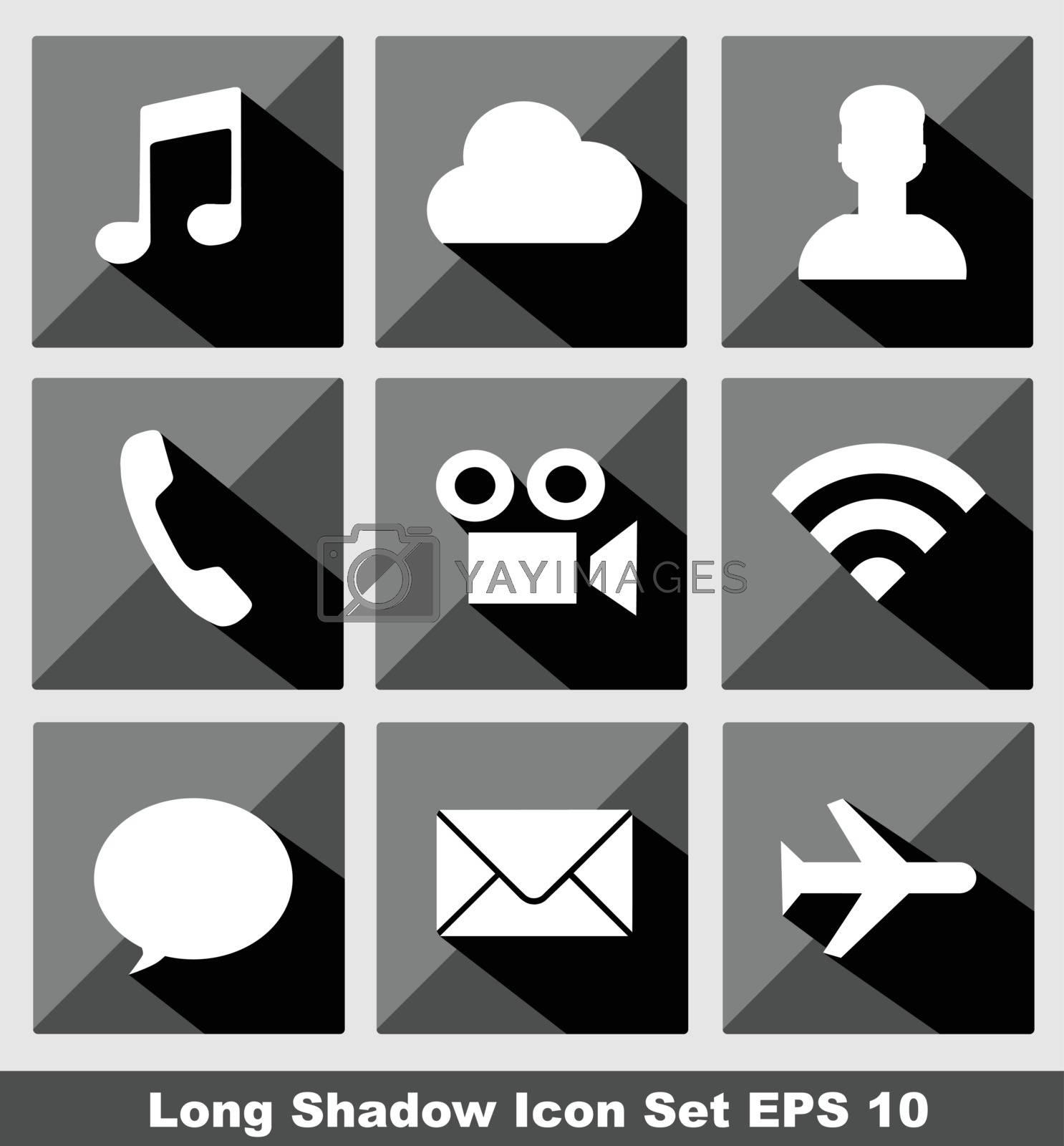 Communication long shadow icon set eps 10