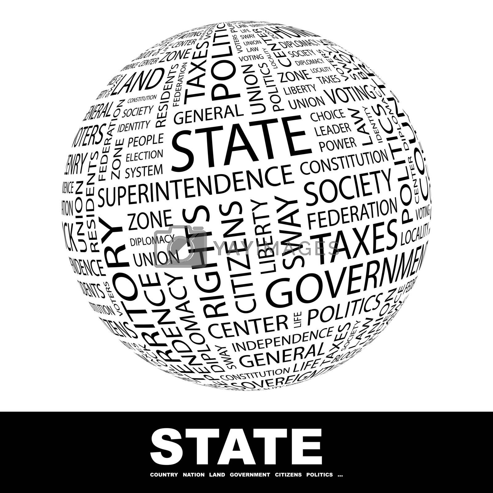 STATE. Concept illustration. Graphic tag collection. Wordcloud collage.