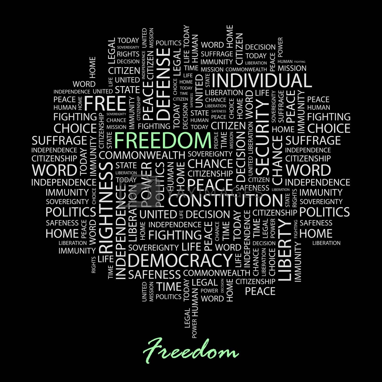 FREEDOM. Word cloud concept illustration. Wordcloud collage.