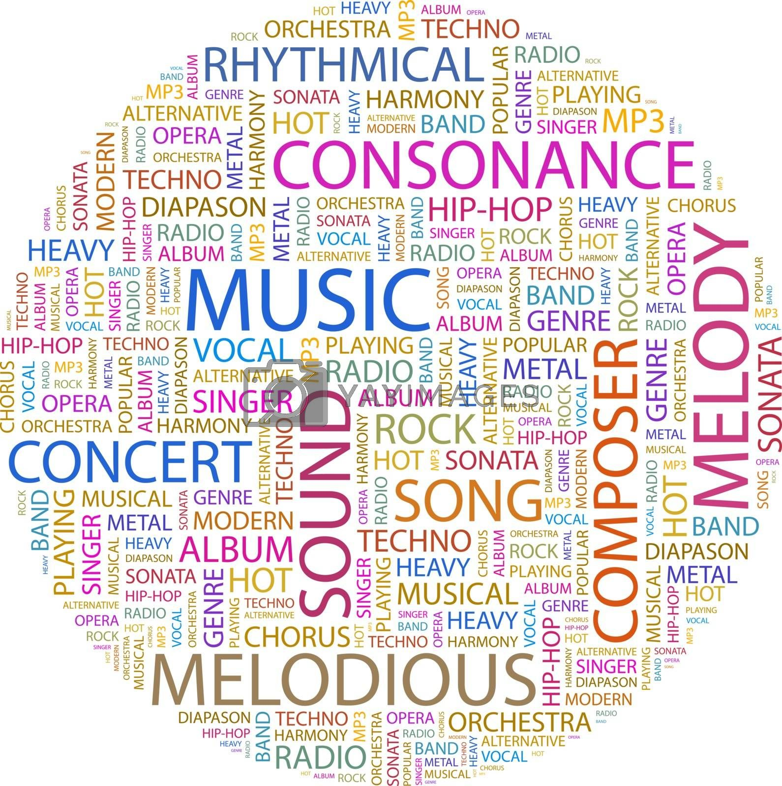 MUSIC. Word cloud illustration. Tag cloud concept collage.