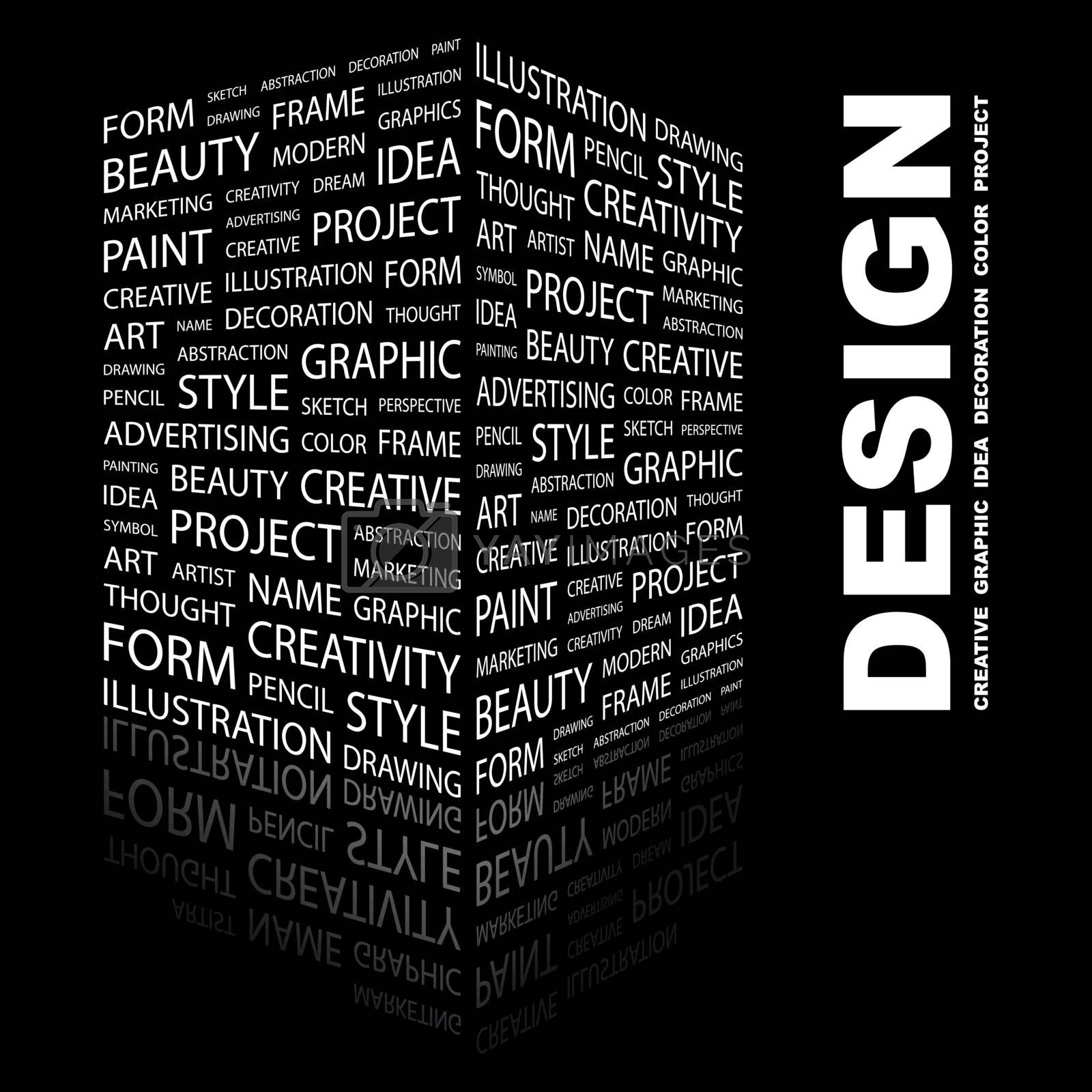 DESIGN. Concept illustration. Graphic tag collection. Wordcloud collage.