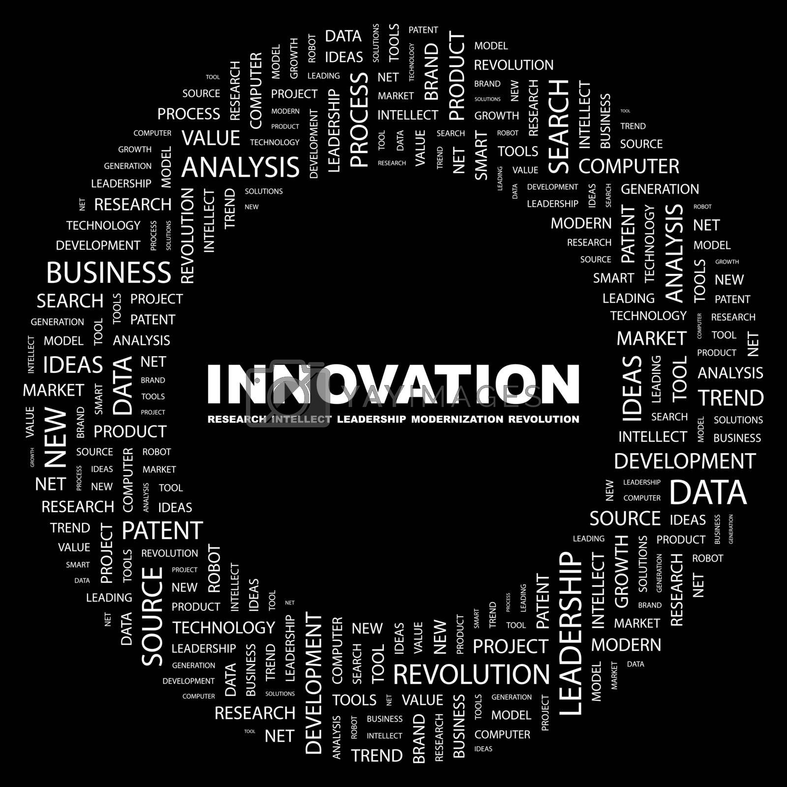 INNOVATION. Concept illustration. Graphic tag collection. Wordcloud collage.