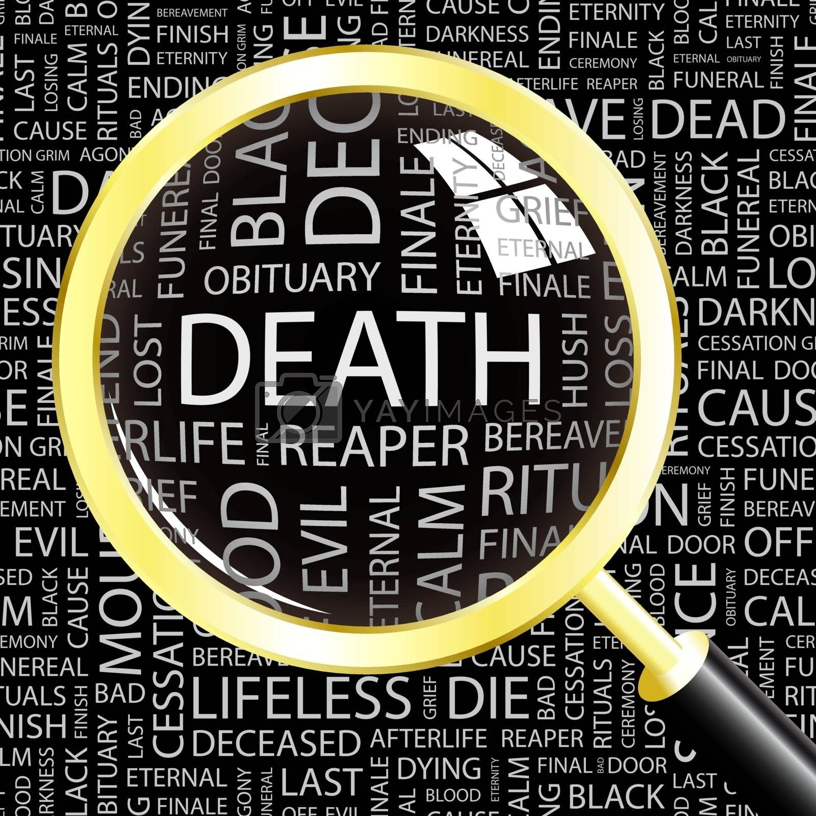 DEATH. Word cloud illustration. Tag cloud concept collage.