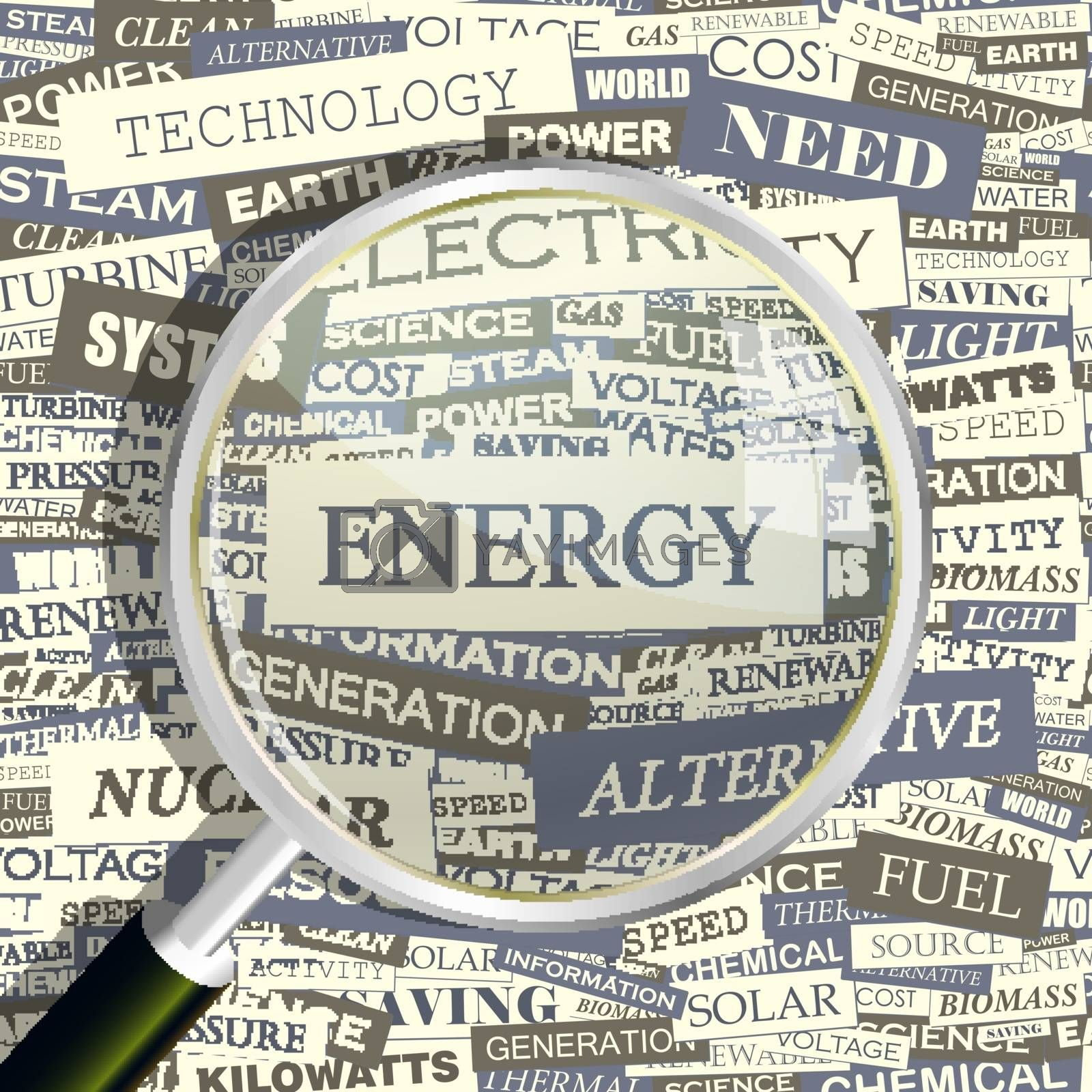 ENERGY. Concept related words in tag cloud. Conceptual info-text graphic. Word collage.