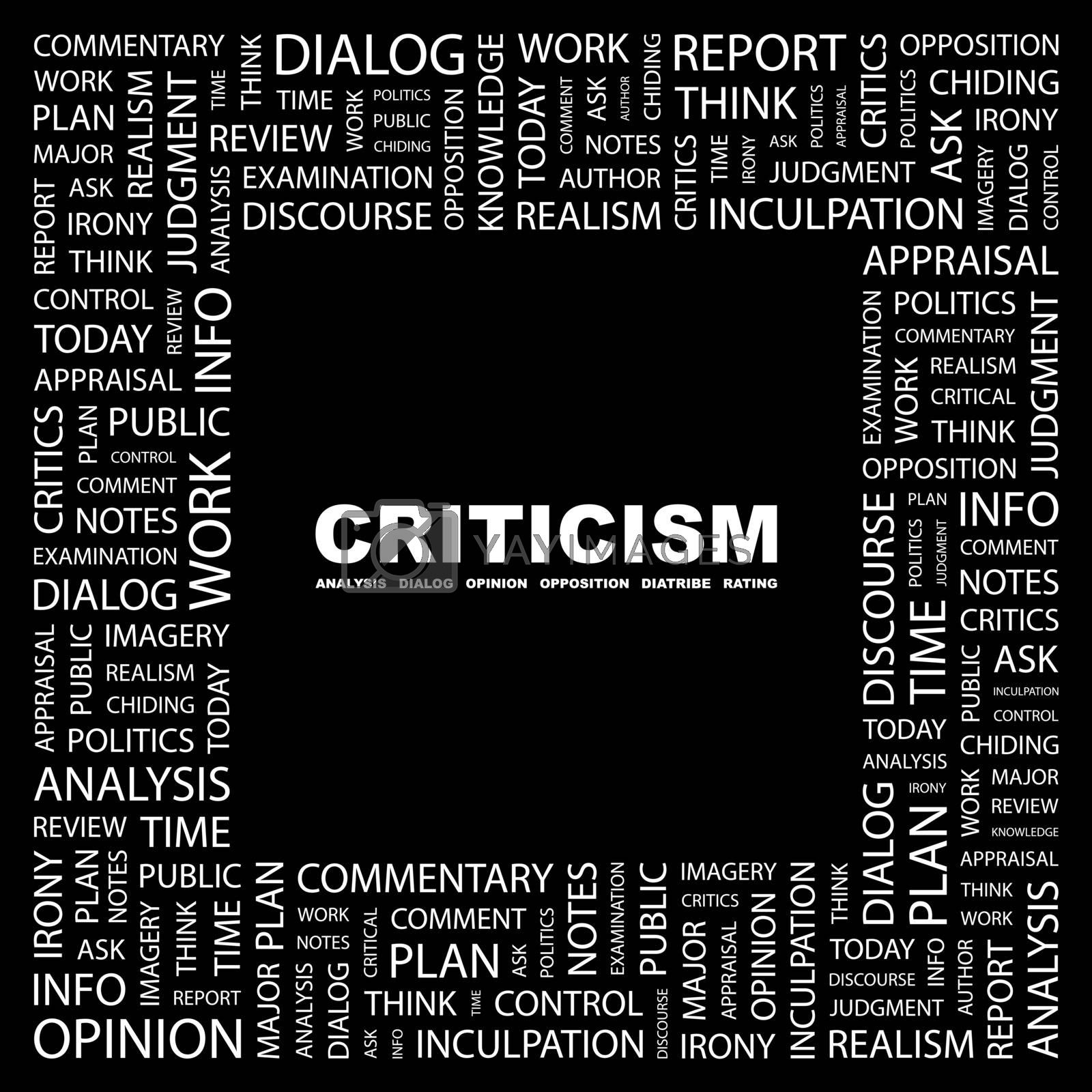 CRITICISM. Concept illustration. Graphic tag collection. Wordcloud collage.