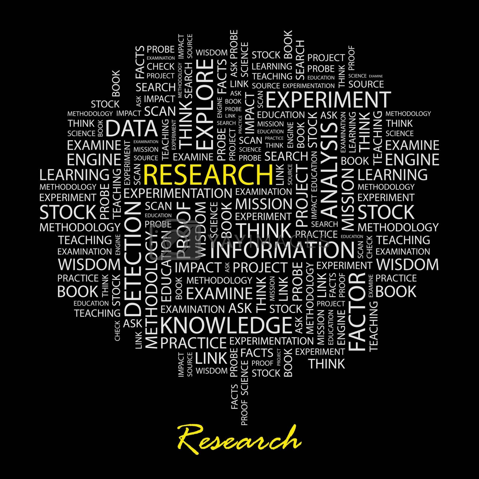 RESEARCH. Word cloud illustration. Tag cloud concept collage.