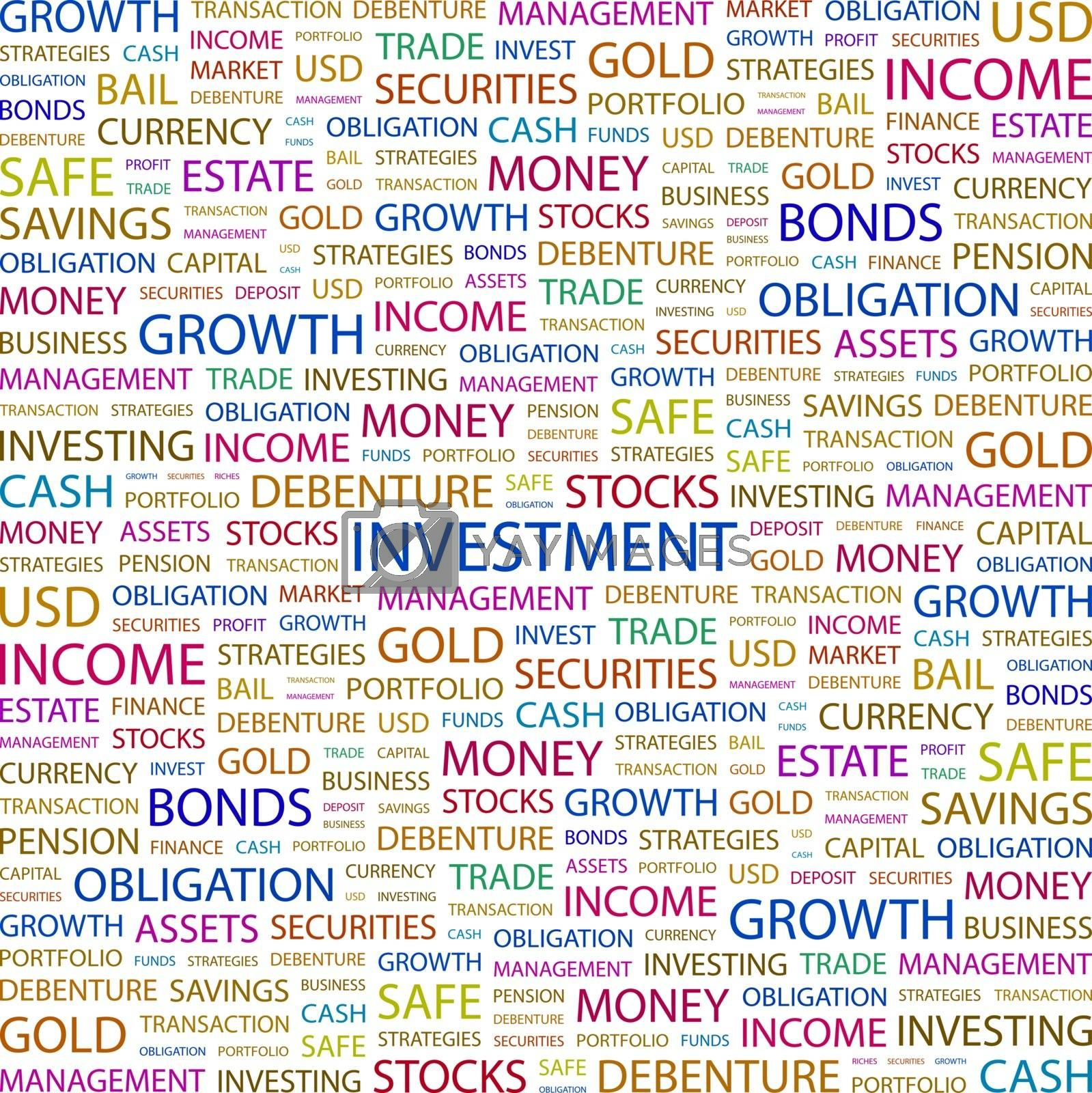 INVESTMENT. Concept illustration. Graphic tag collection. Wordcloud collage.