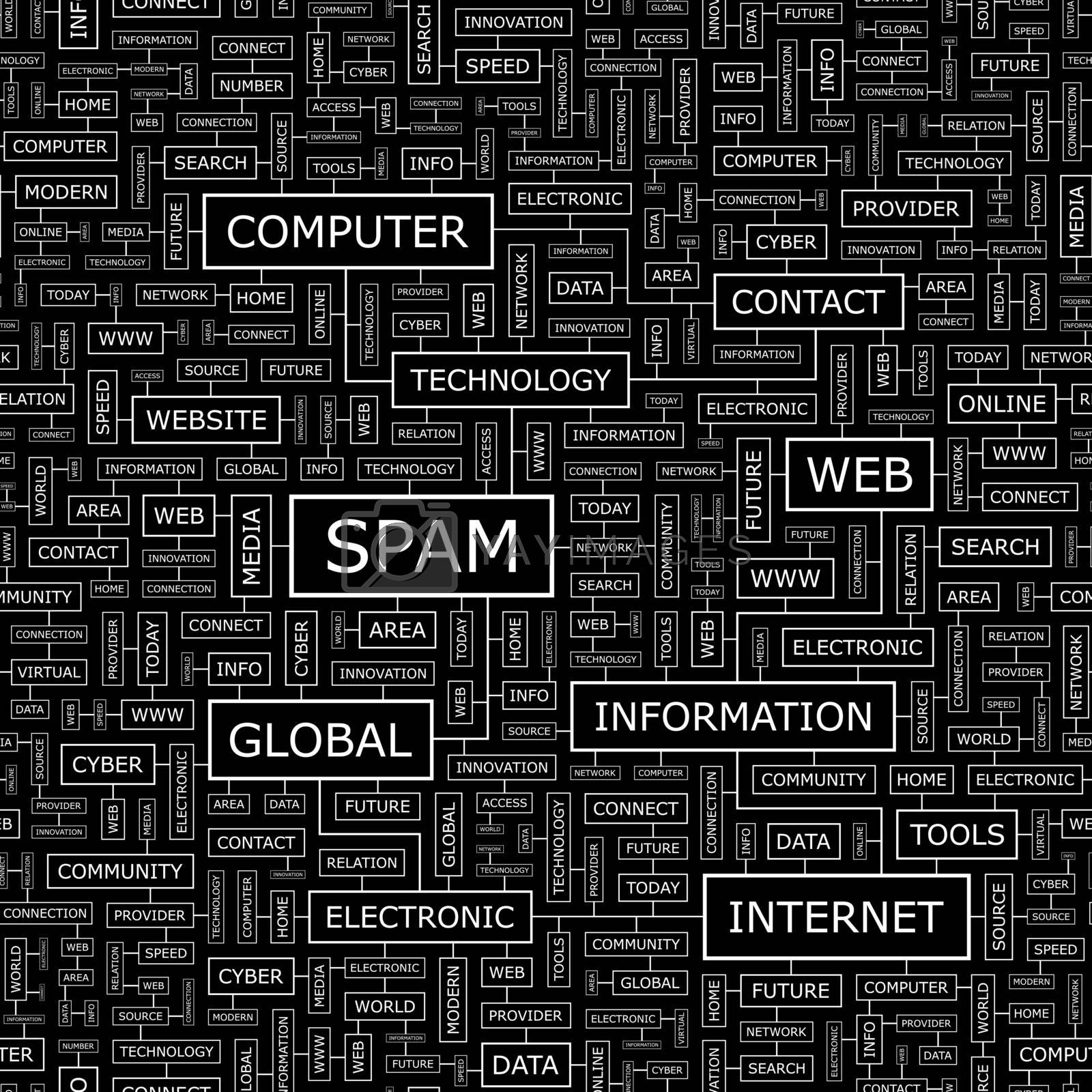 SPAM. Seamless pattern. Word cloud illustration.