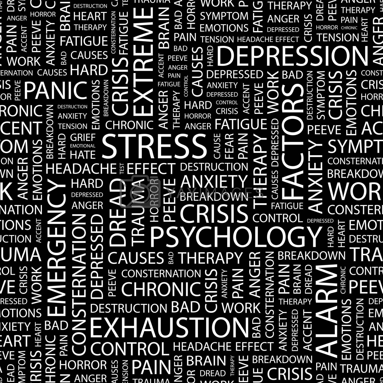 STRESS. Seamless pattern. Word cloud illustration.