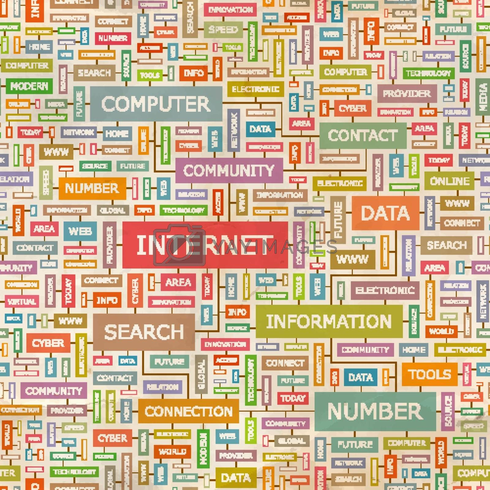 INTERNET. Seamless pattern. Concept related words in tag cloud. Conceptual info-text graphic. Word collage.