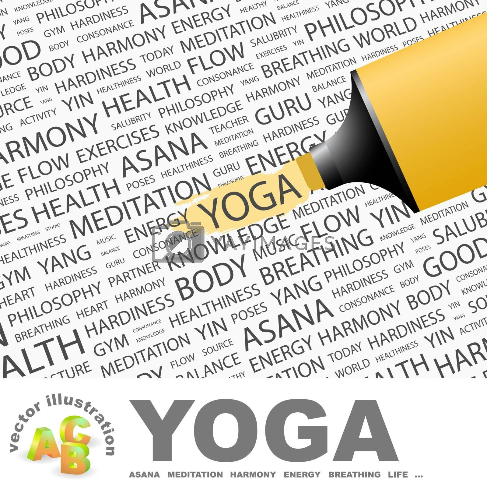YOGA. Concept illustration. Graphic tag collection. Wordcloud collage.