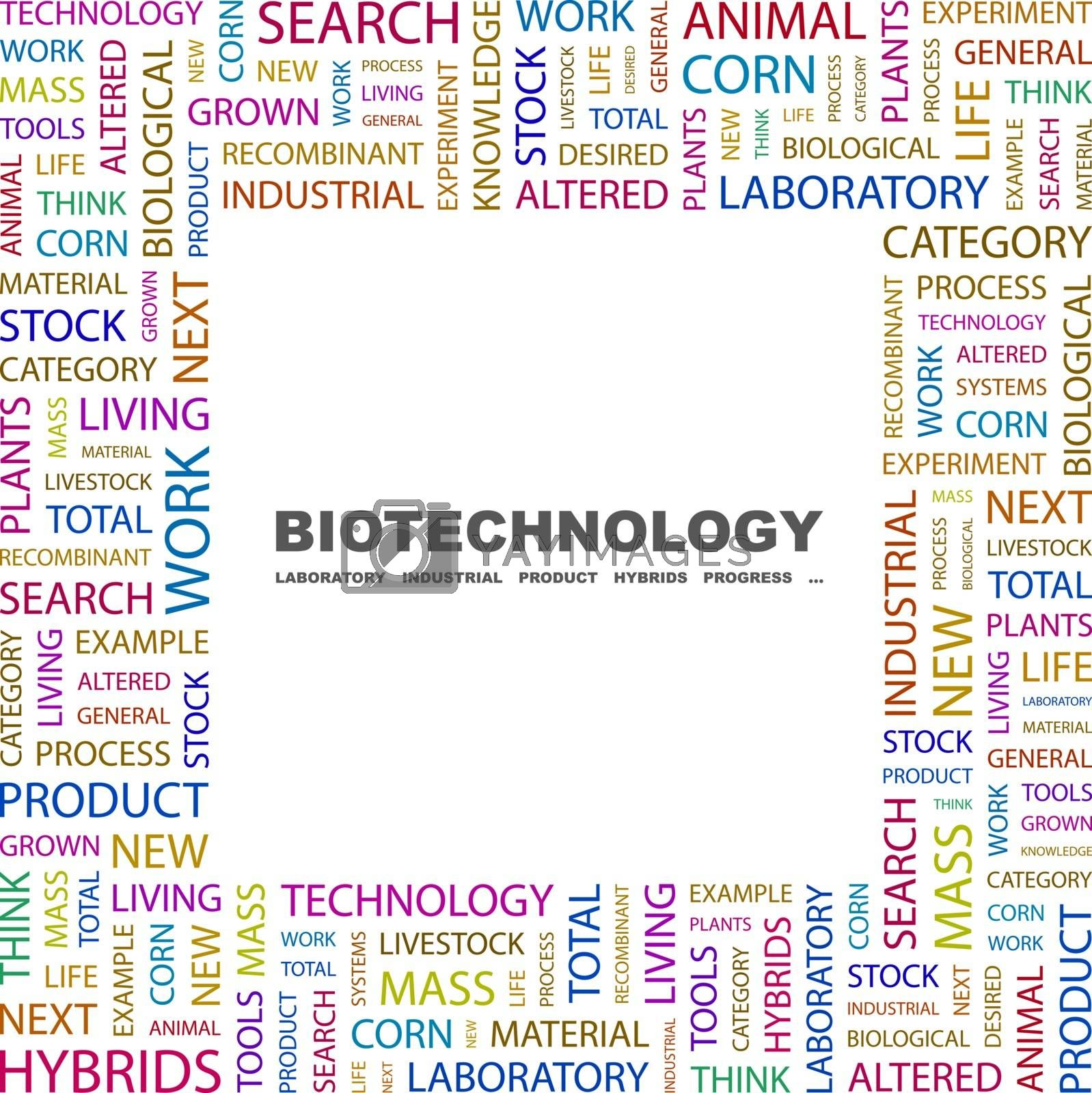 BIOTECHNOLOGY. Background concept wordcloud illustration. Print concept word cloud. Graphic collage.