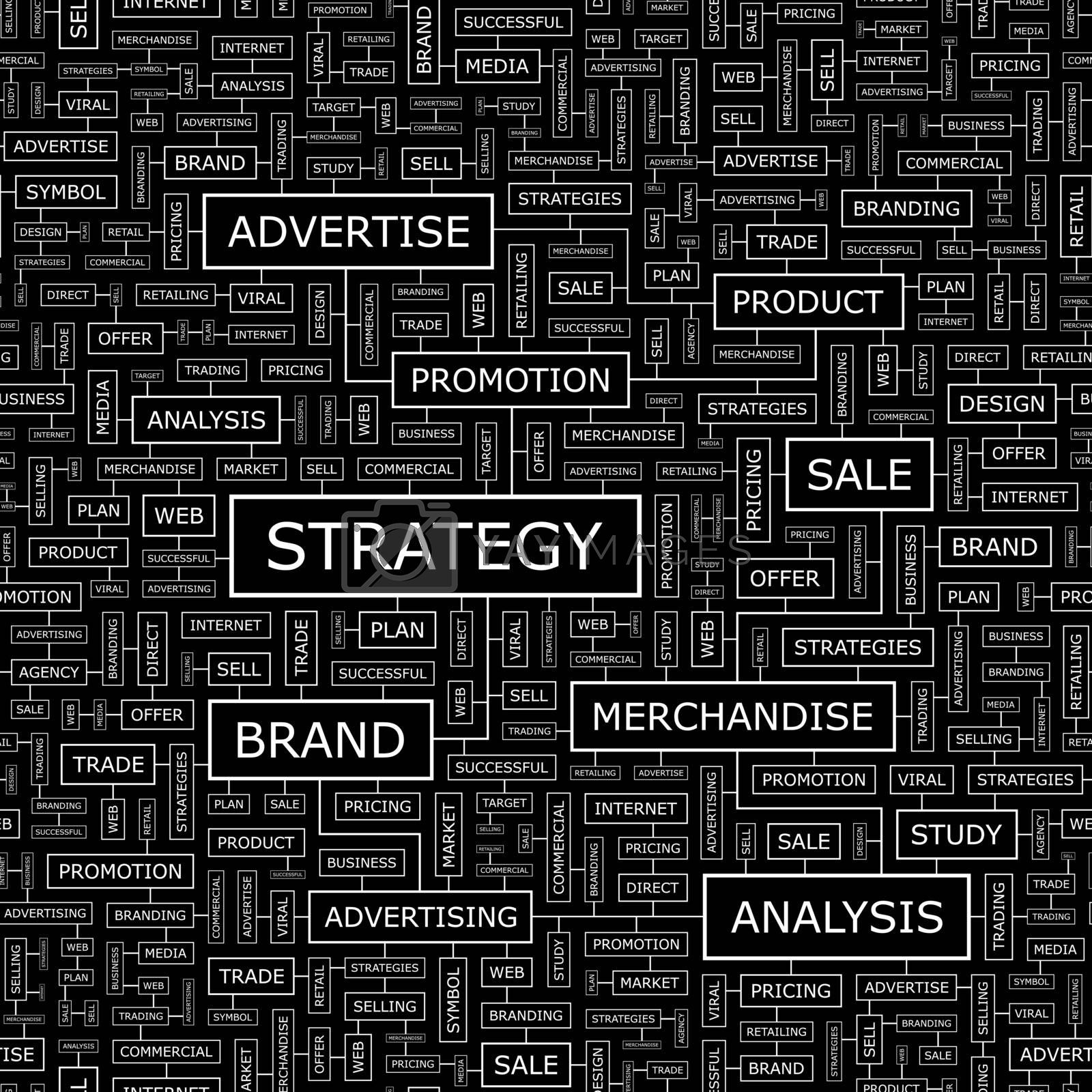 STRATEGY. Seamless pattern. Word cloud illustration.