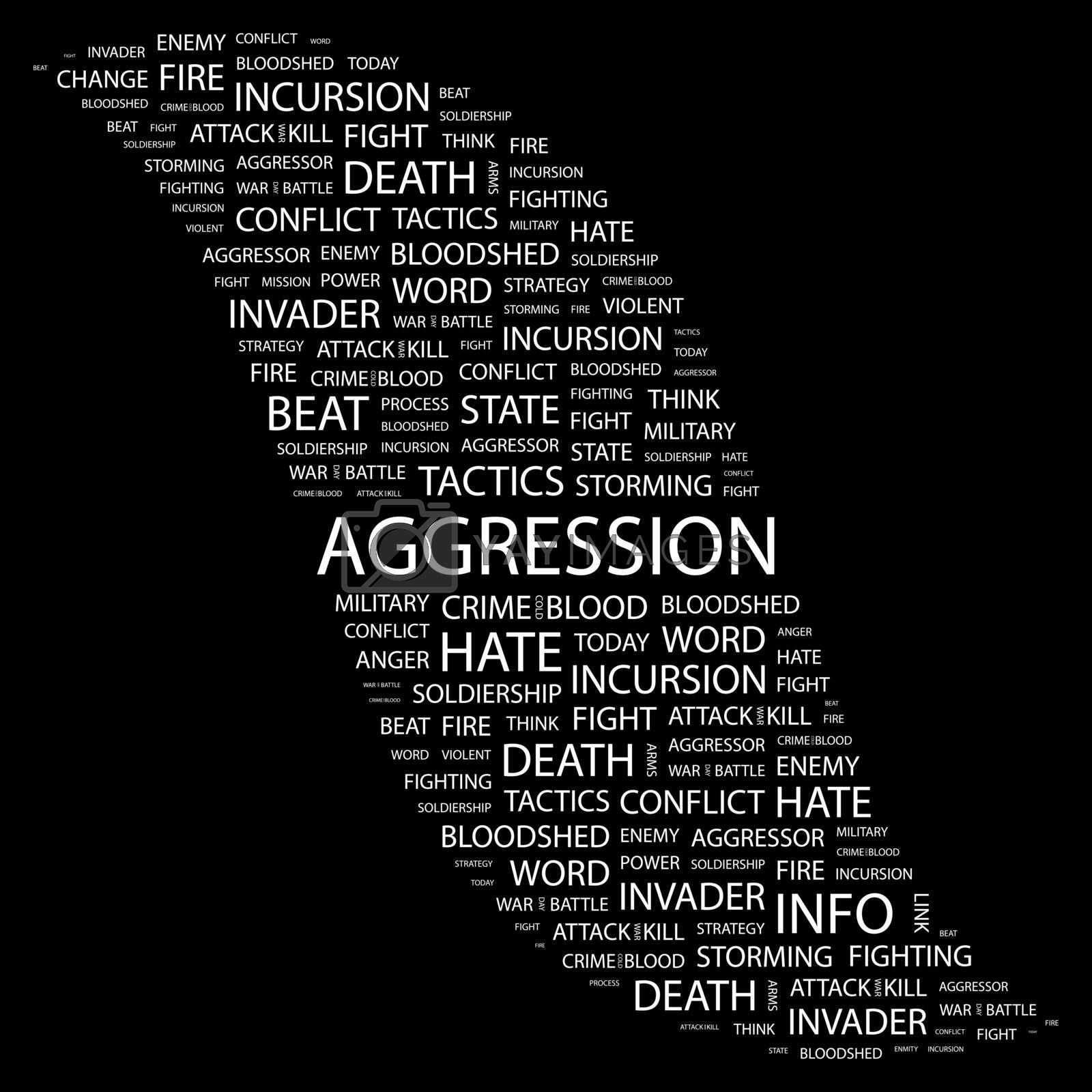 AGGRESSION. Concept illustration. Graphic tag collection. Wordcloud collage.
