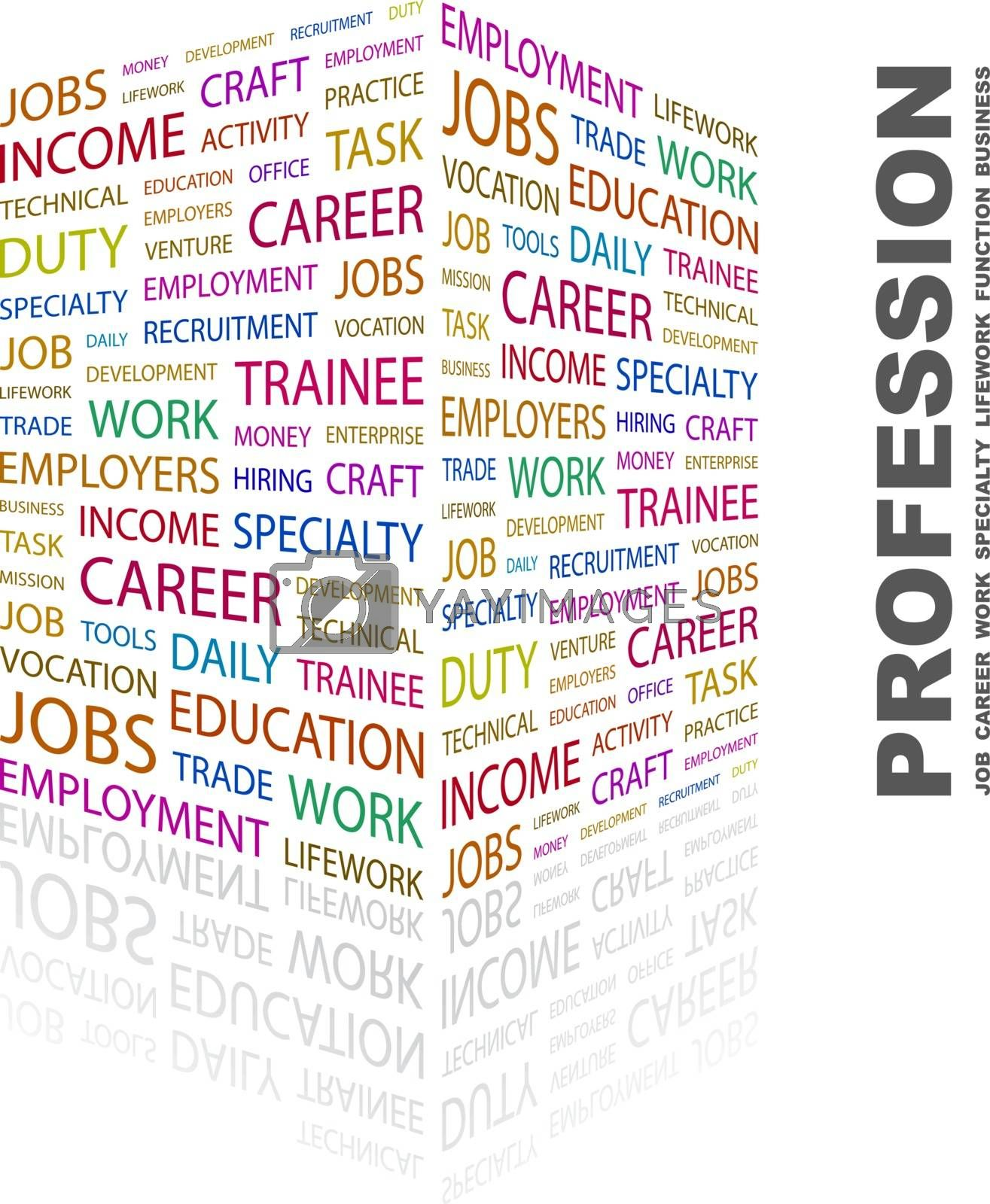 PROFESSION. Concept illustration. Graphic tag collection. Wordcloud collage.