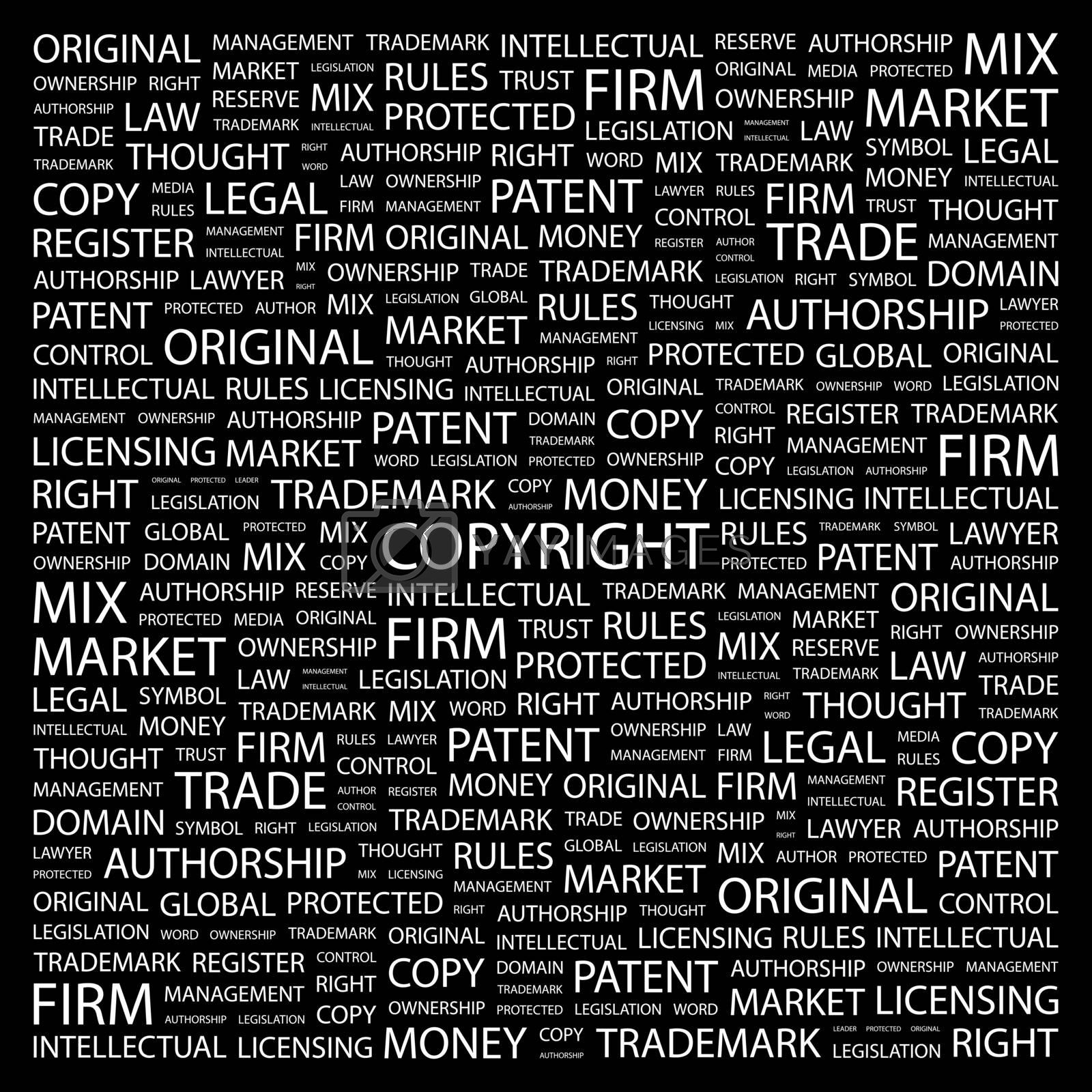 COPYRIGHT. Concept illustration. Graphic tag collection. Wordcloud collage.