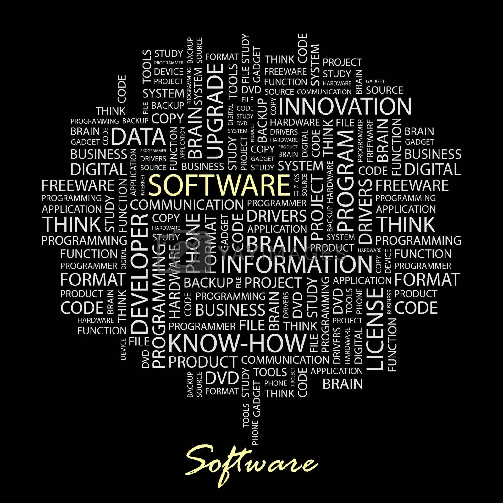 SOFTWARE. Concept illustration. Graphic tag collection. Wordcloud collage.