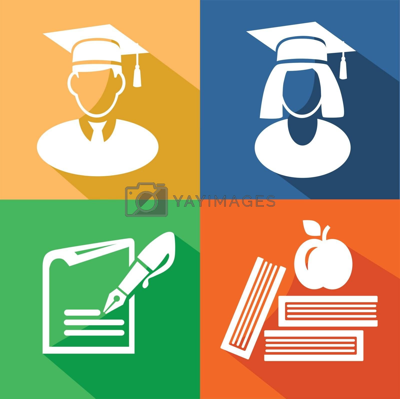 Education color icon on white background vector eps 10