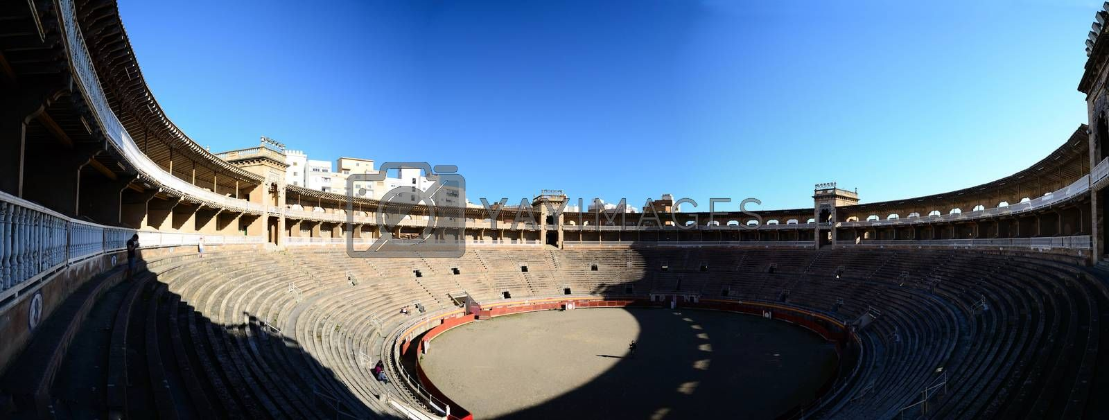 beautiful antique stadium in mallorca panorama view
