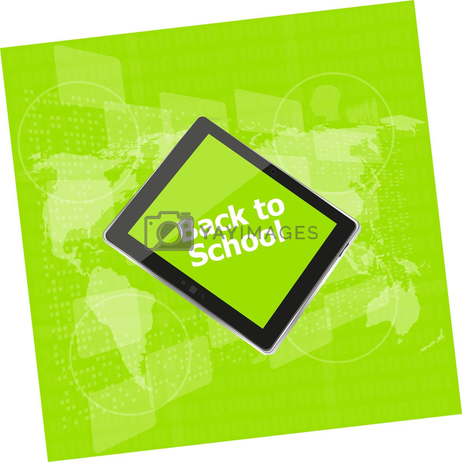 Tablet PC set with back to school word on it, isolated on white