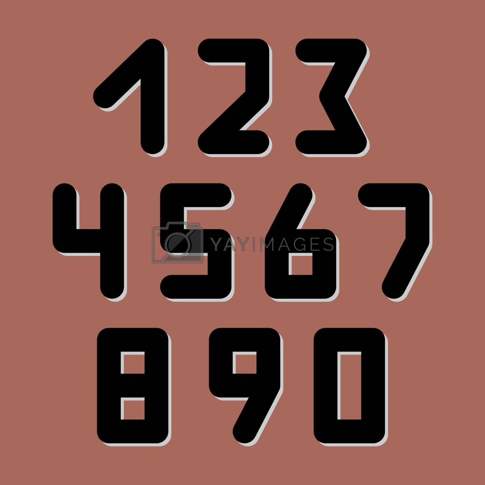 Number icons. Vector set. Can be used as web sign and design element.