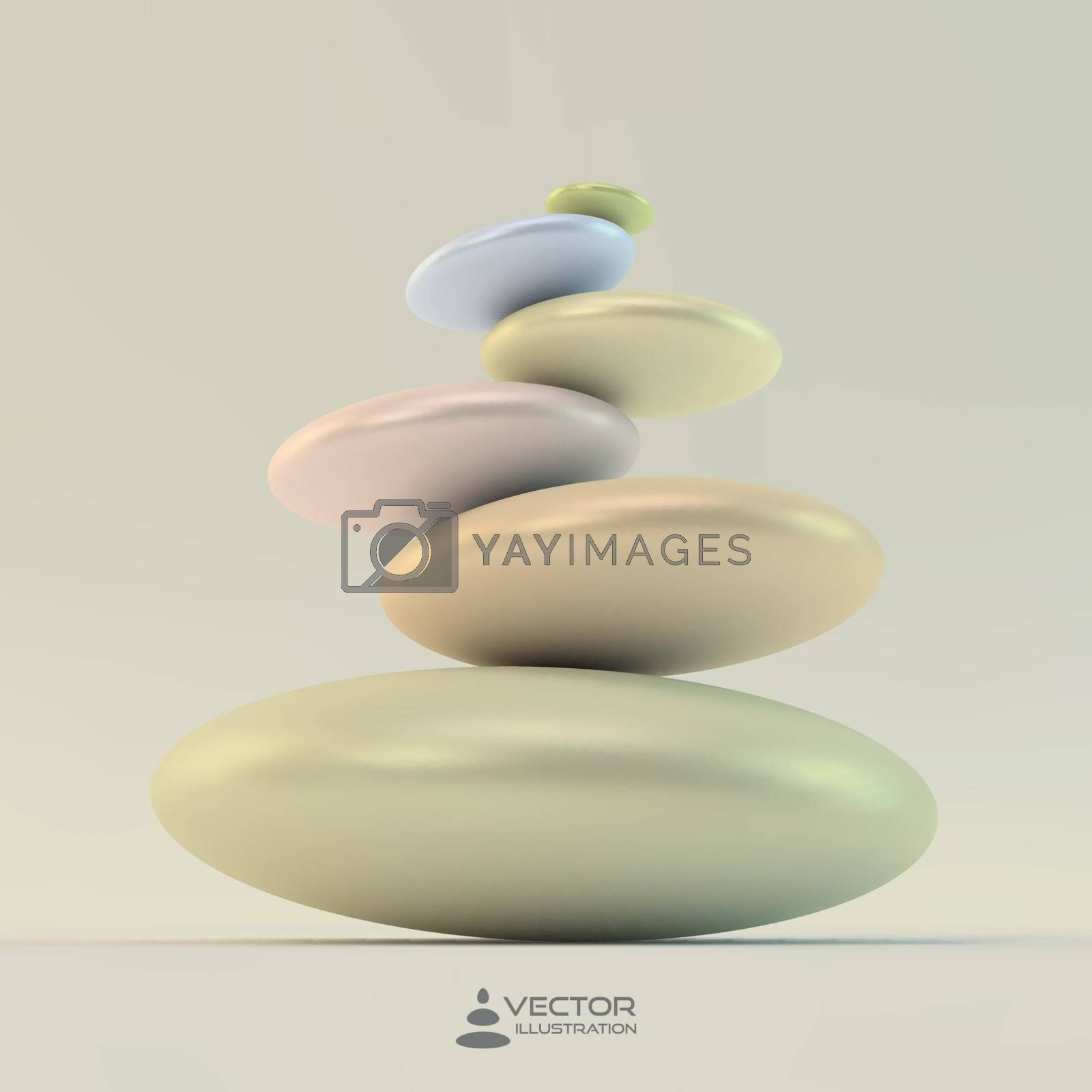Spa stones. Vector 3d illustration. Can be used for design and presentation.