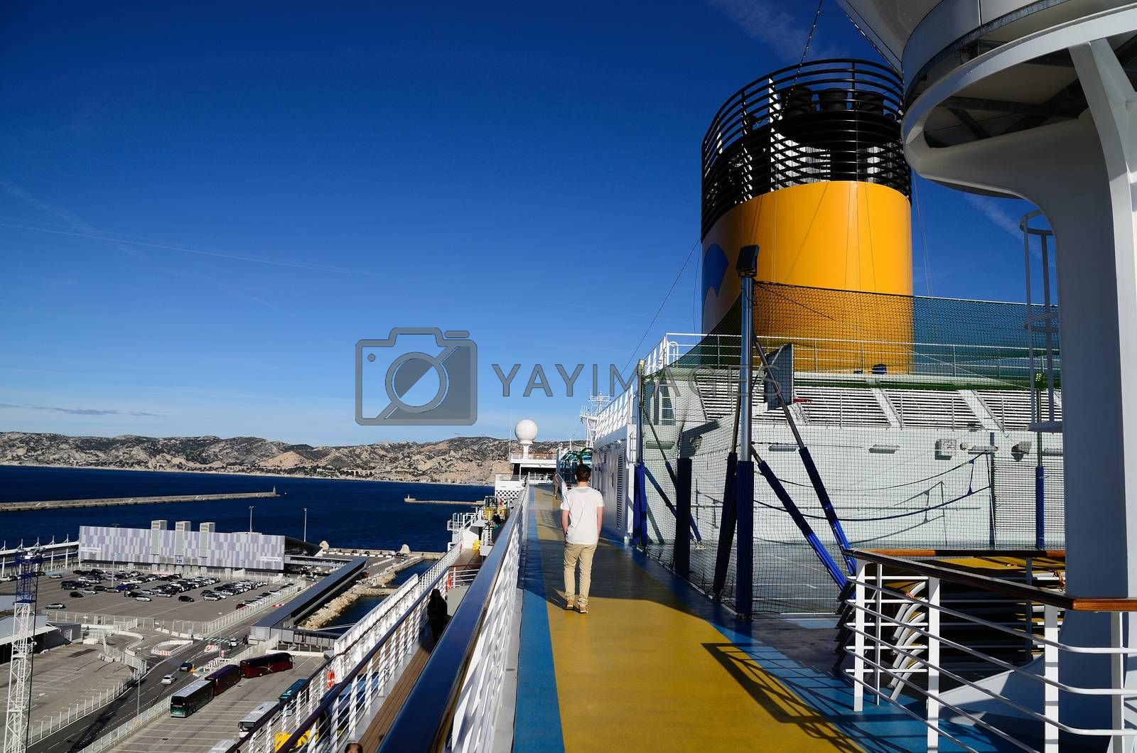 walk on a huge cruise ship in the port of Marseille