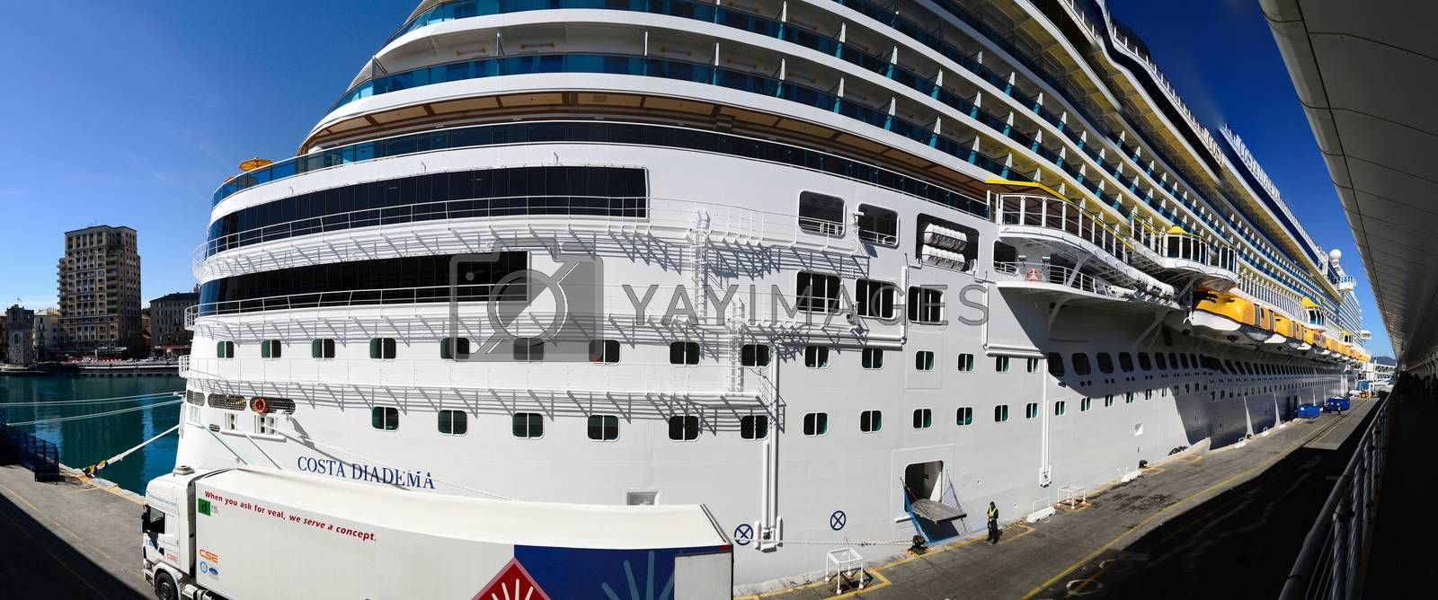 huge cruise ship in the harbor panorama view