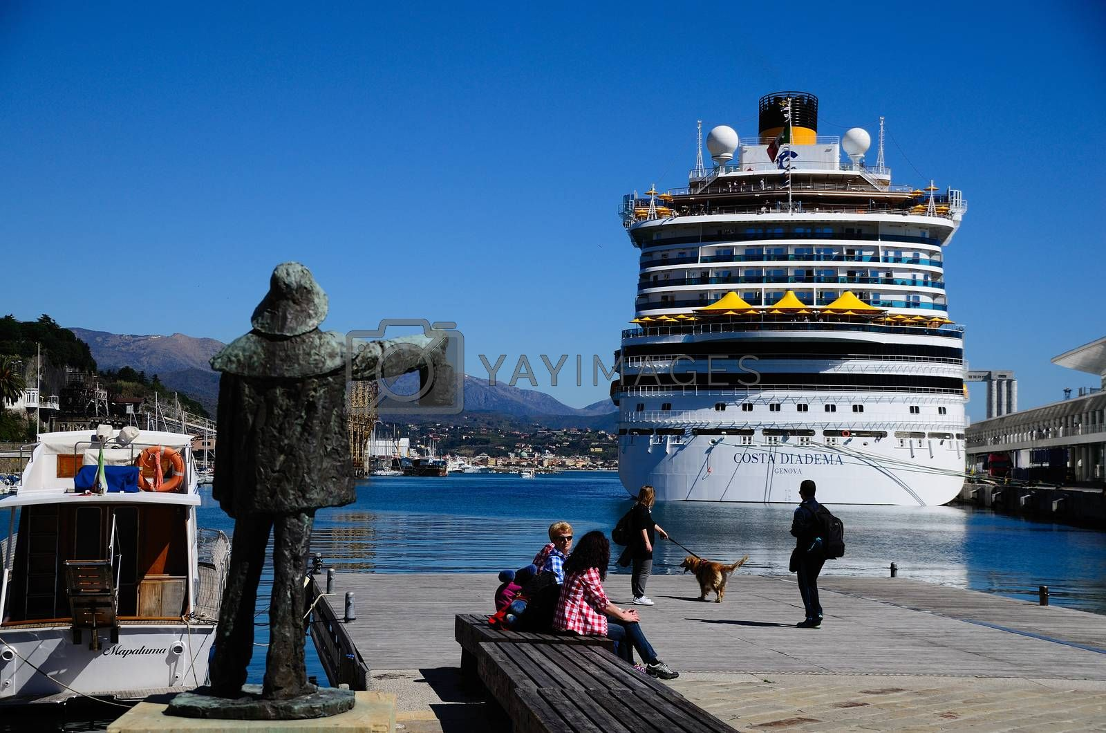 huge cruise ship in the port of Savona