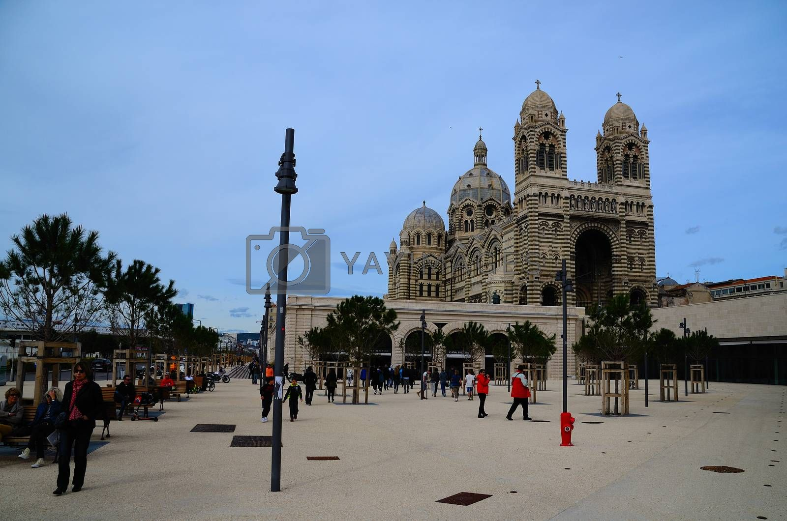 beautiful large ornate cathedral in Marseilles