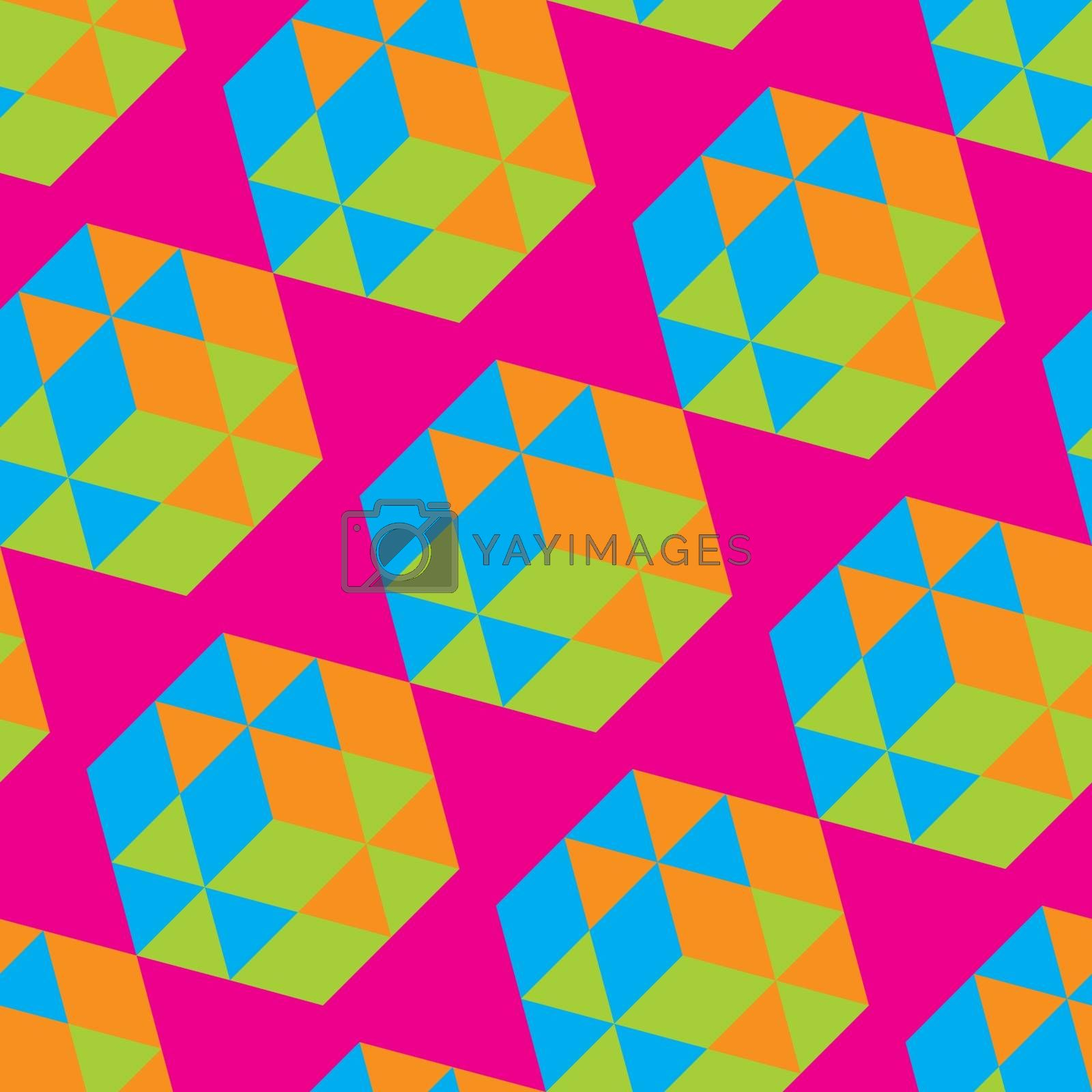 Abstract Geometrical 3d Background. Seamless Pattern.  Mosaic. Vector Illustration. Can Be Used For Wallpaper, Web Page Background.