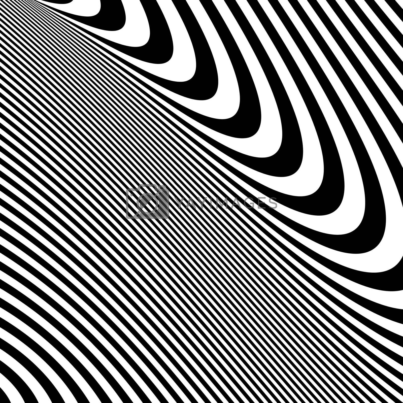 Pattern with optical illusion. Black and white background.  by login
