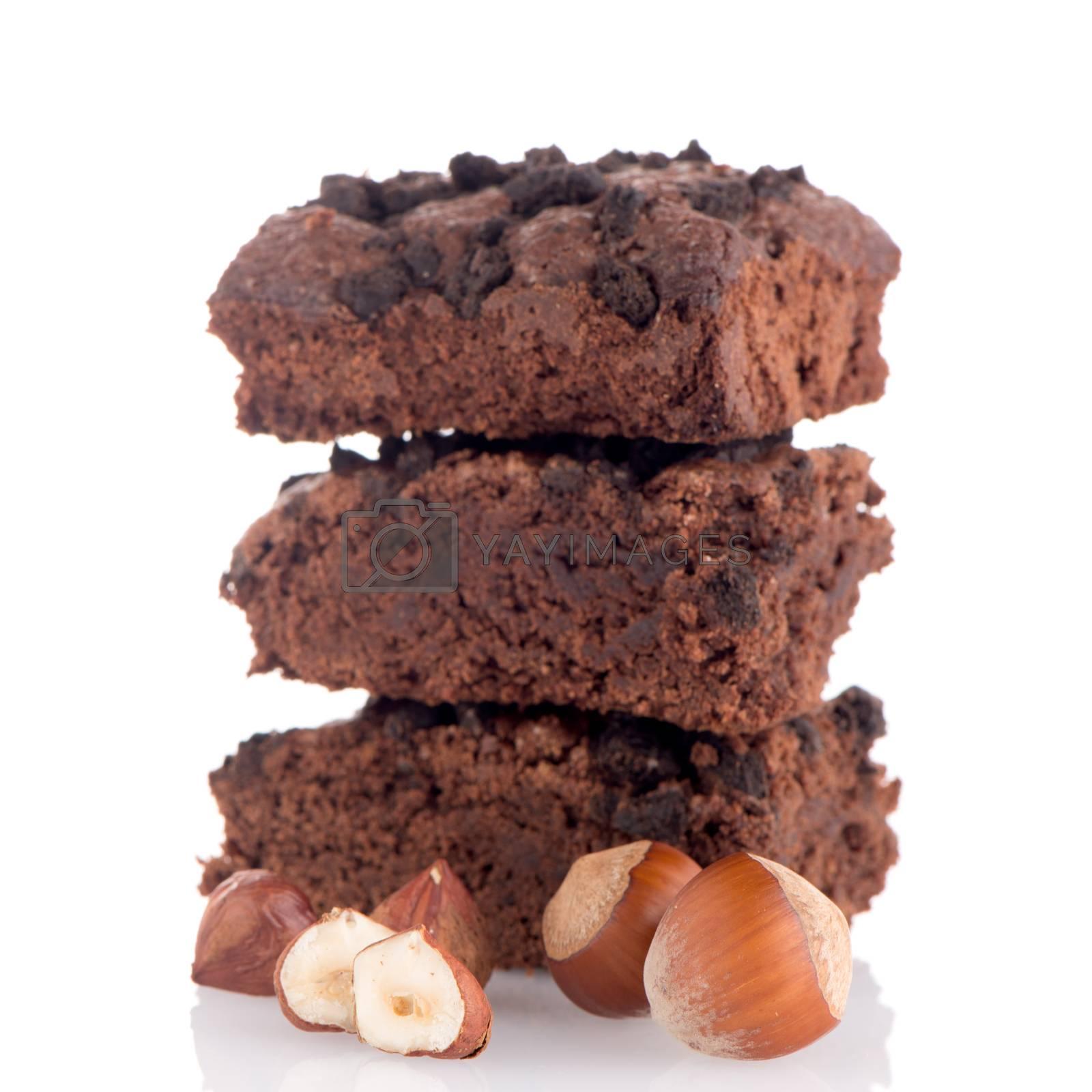 Chocolate brownies dessert on white background