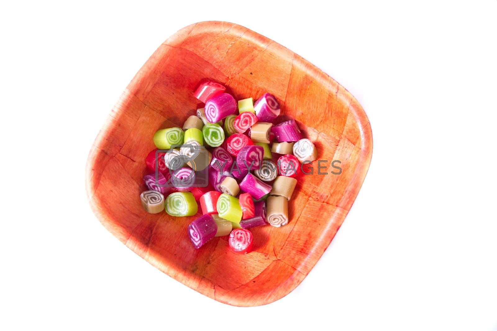 Colorful candies on white background