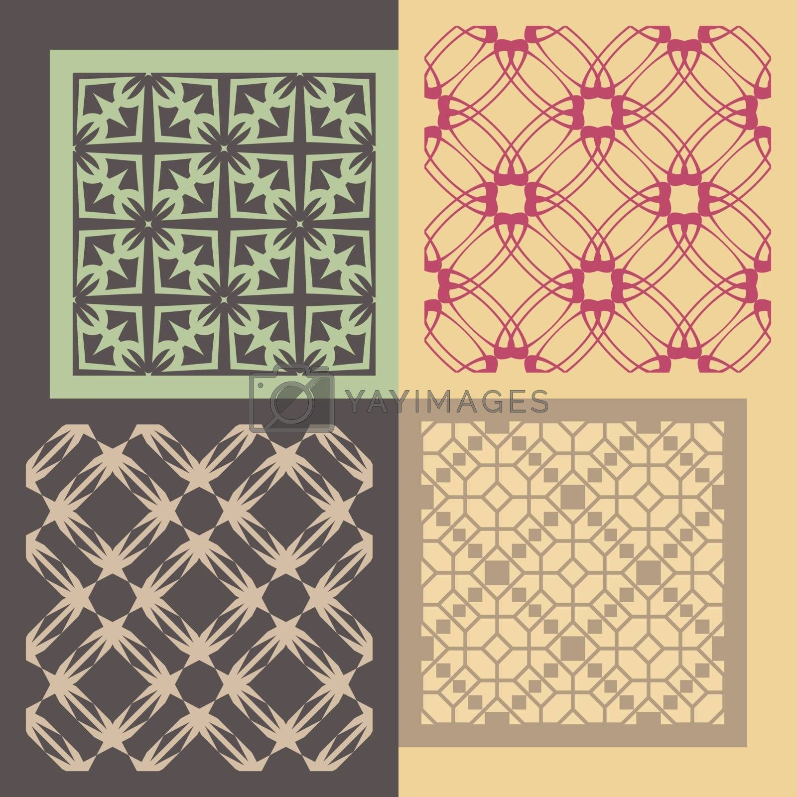 Set of four seamless patterns. Vintage geometric ornaments. Can be used for wallpaper, pattern fills, web page background. Vector Illustration.