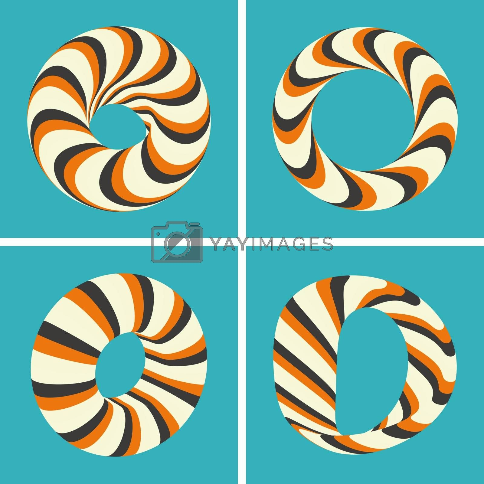 Set of abstract 3d vector icons such emblems. 3d bracelets or rings. Abstract geometric shape. Optical Art.