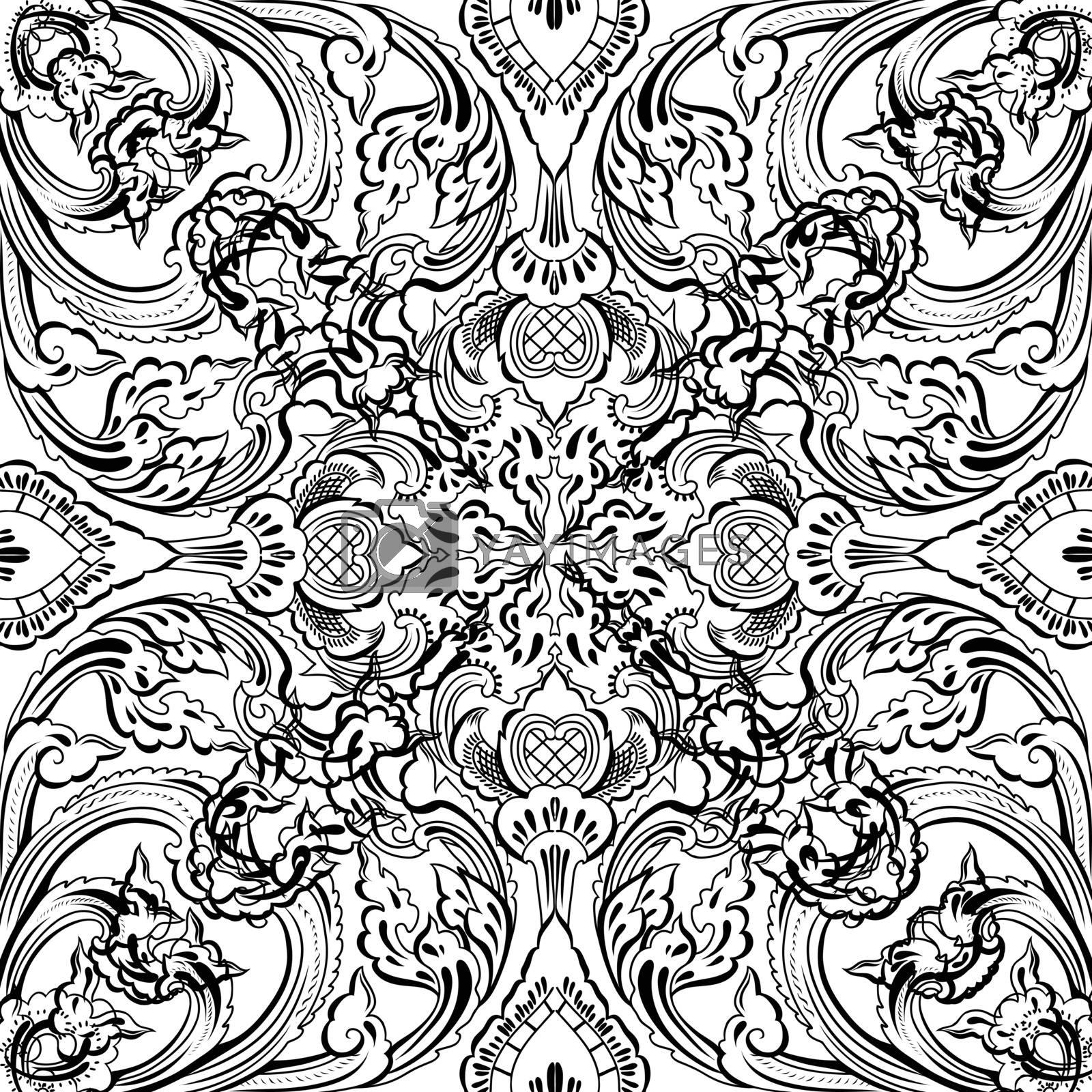 Vector thai floral decorative ornament. EPS illustration