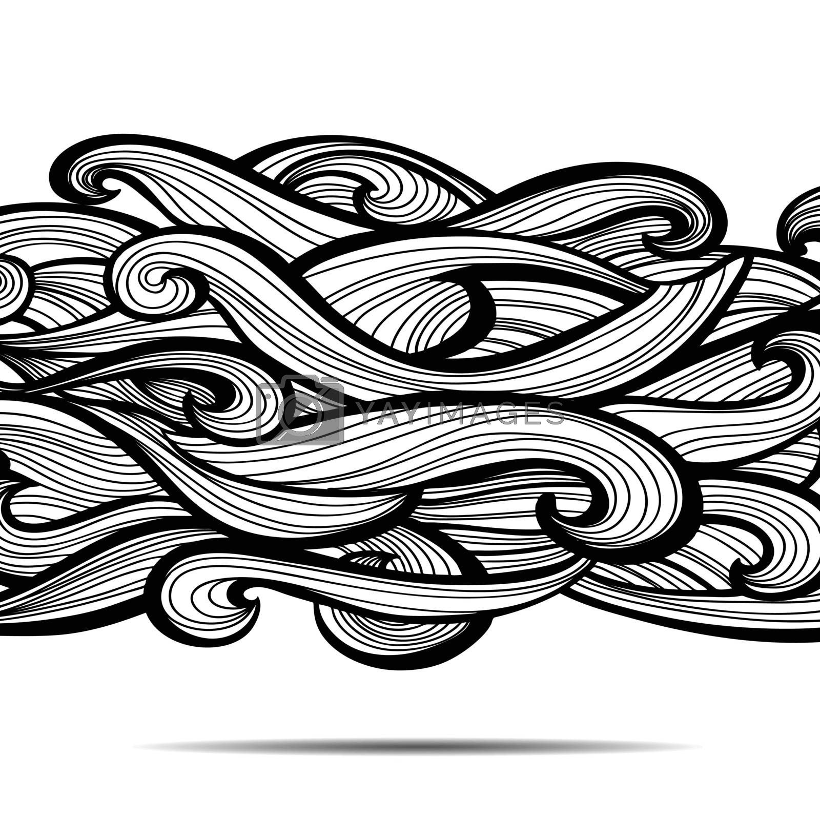 Curl abstract pattern with multicolored waves. Vector illustration. EPS