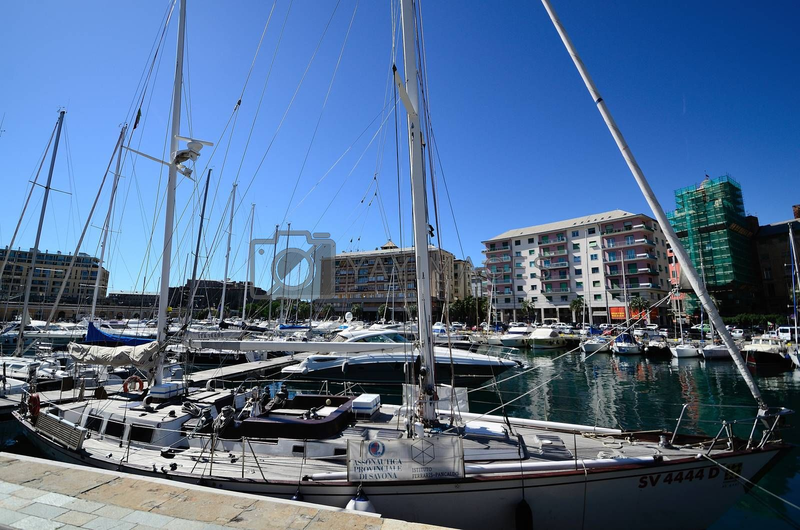 many white beautiful boats in the port of Savona