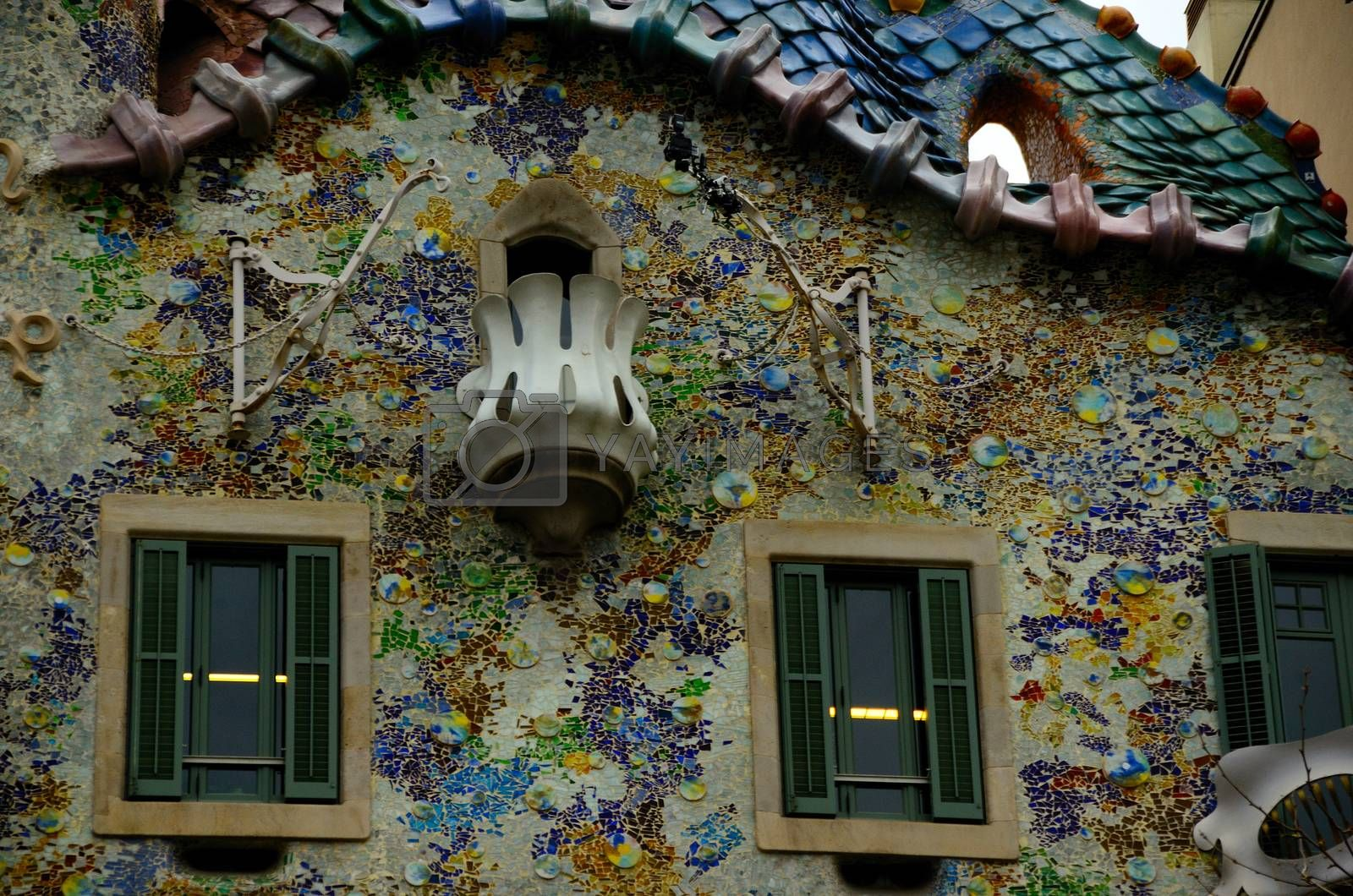 beautiful colorful facade in the city of Barcelona