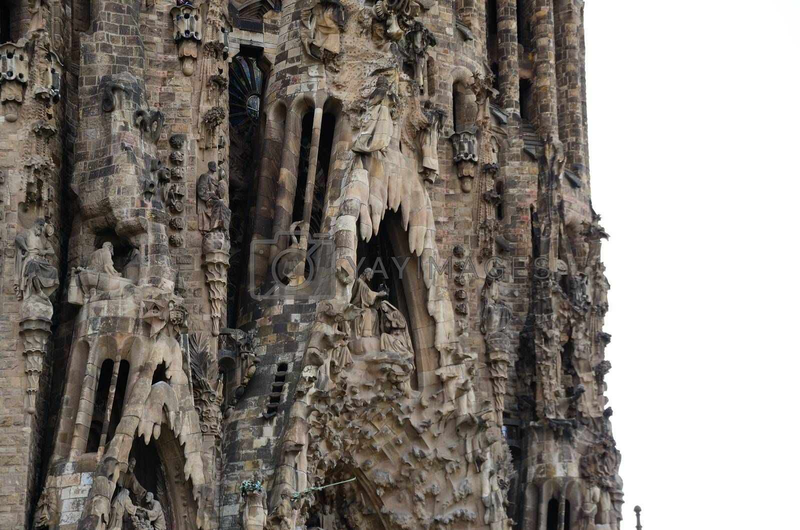 high ornate tower of the cathedral in Barcelona