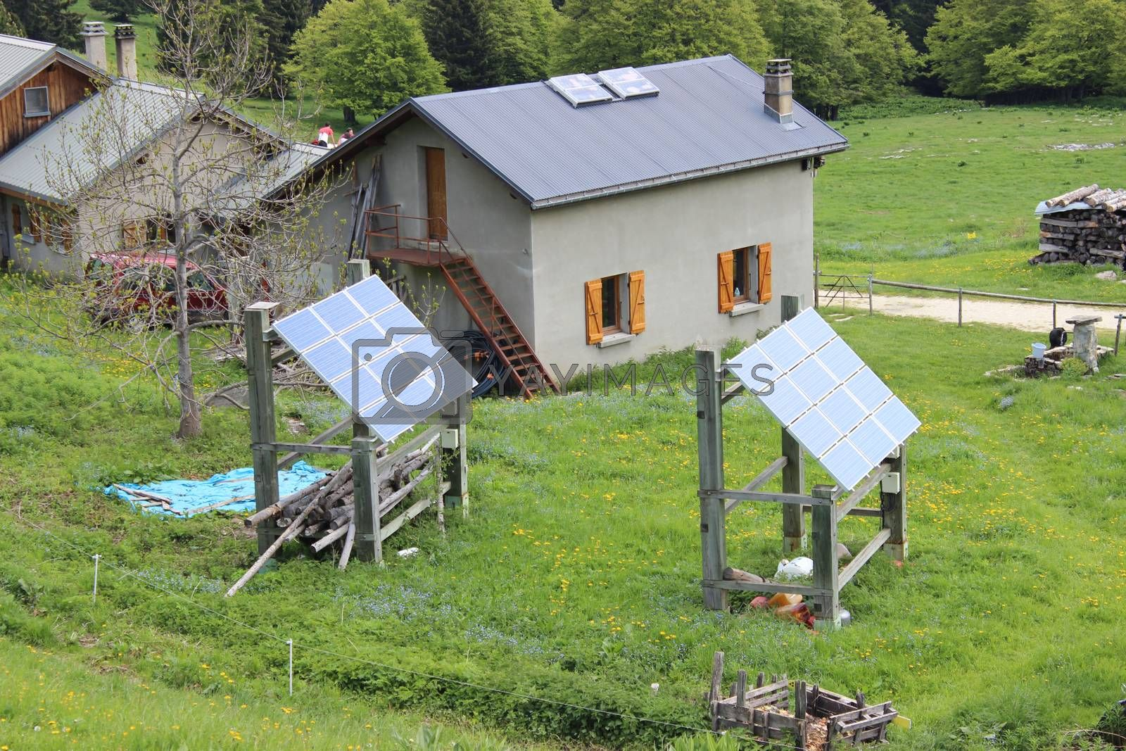 Mountain chalet with solar panels. Villard-de-Lans, France