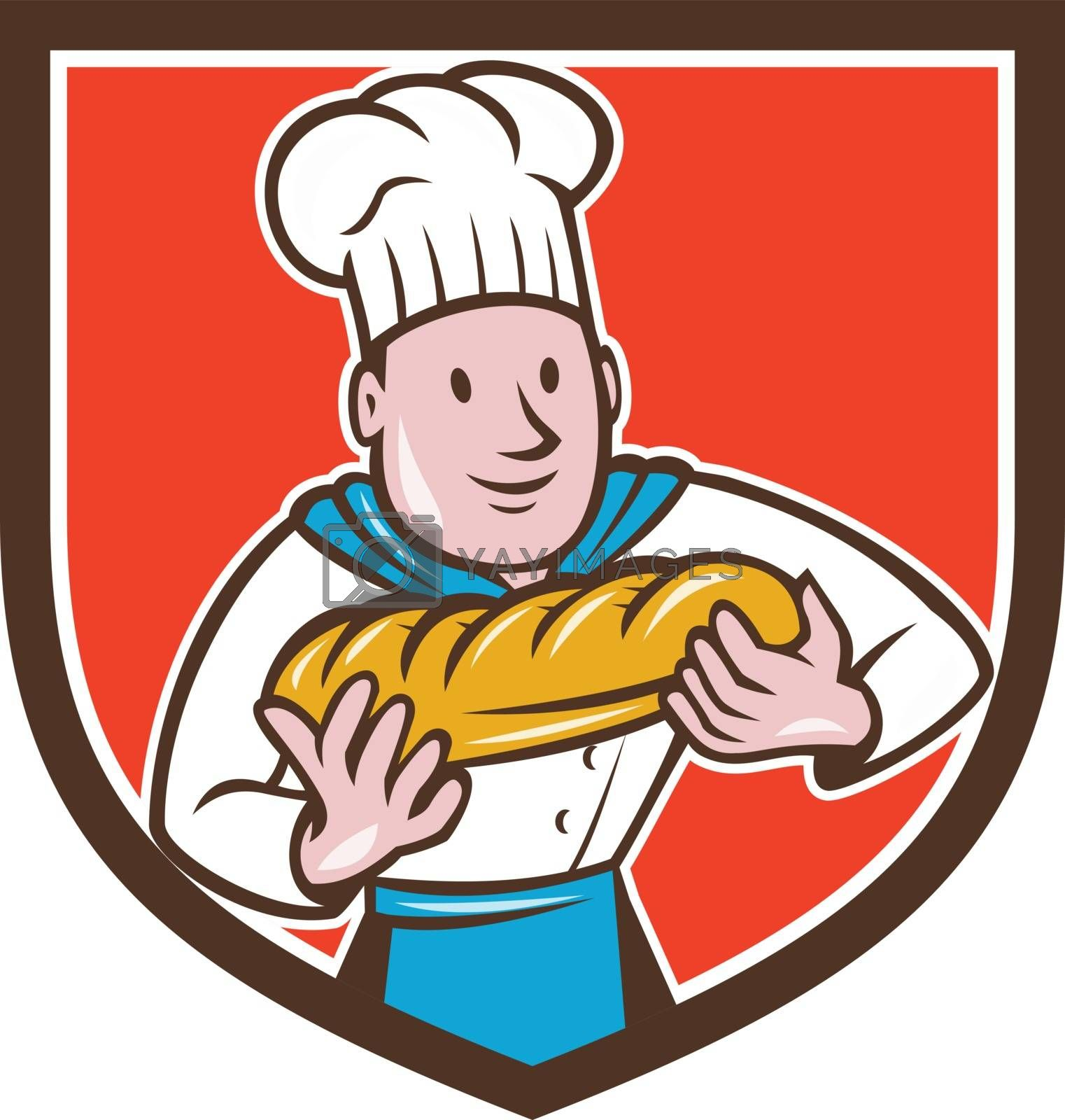 Baker Holding Bread Loaf Shield Cartoon Royalty Free Stock Image Stock Photos Royalty Free Images Vectors Footage Yayimages